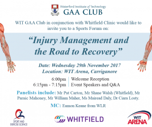 "Sports Forum on ""Injury Management and the Road to Recovery"""