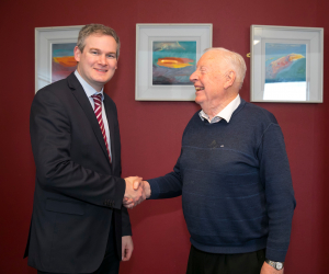 Minister Seán Kyne TD meets Ireland's oldest third level student at WIT