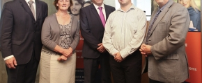Pictured: Dr Tom O'Toole (WIT); Mary Mosse (WIT); Enda McDonnell (Enterprise Ireland); Donal O'Coitir (Gaelchólaiste Phort Láirge) and John Maher (WIT)
