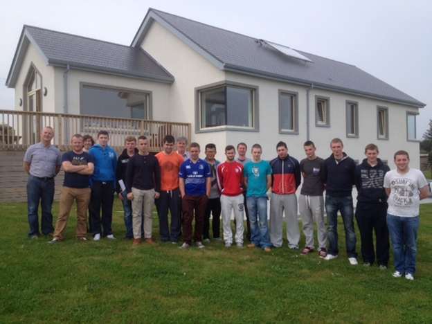 Students visiting a completed Passive House in Dunmore East on their induction trip.