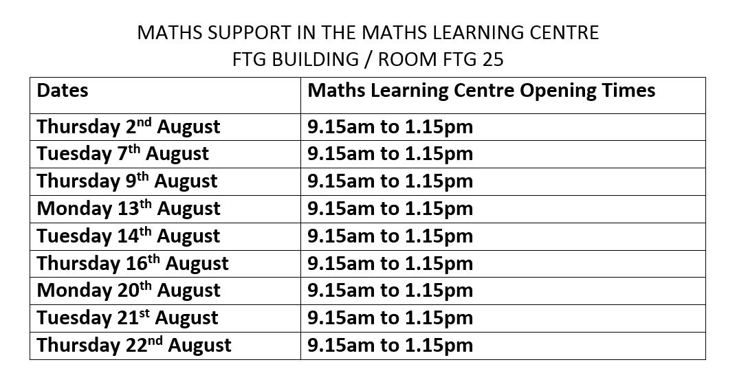 Maths Learning Centre August Dates