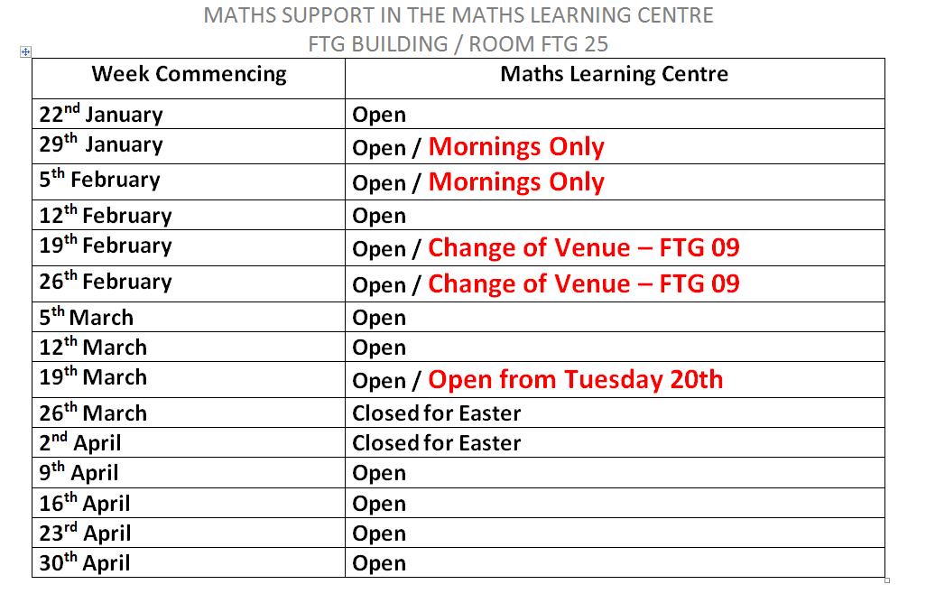 MLC Sem 2 Timetable