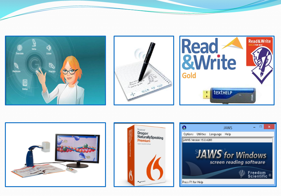Image of Assistive Technologies available in W I T such as Ginger, Live Scribe Pen, Read and Write, Onyx HD, Dragon naturally speaking and Jaws