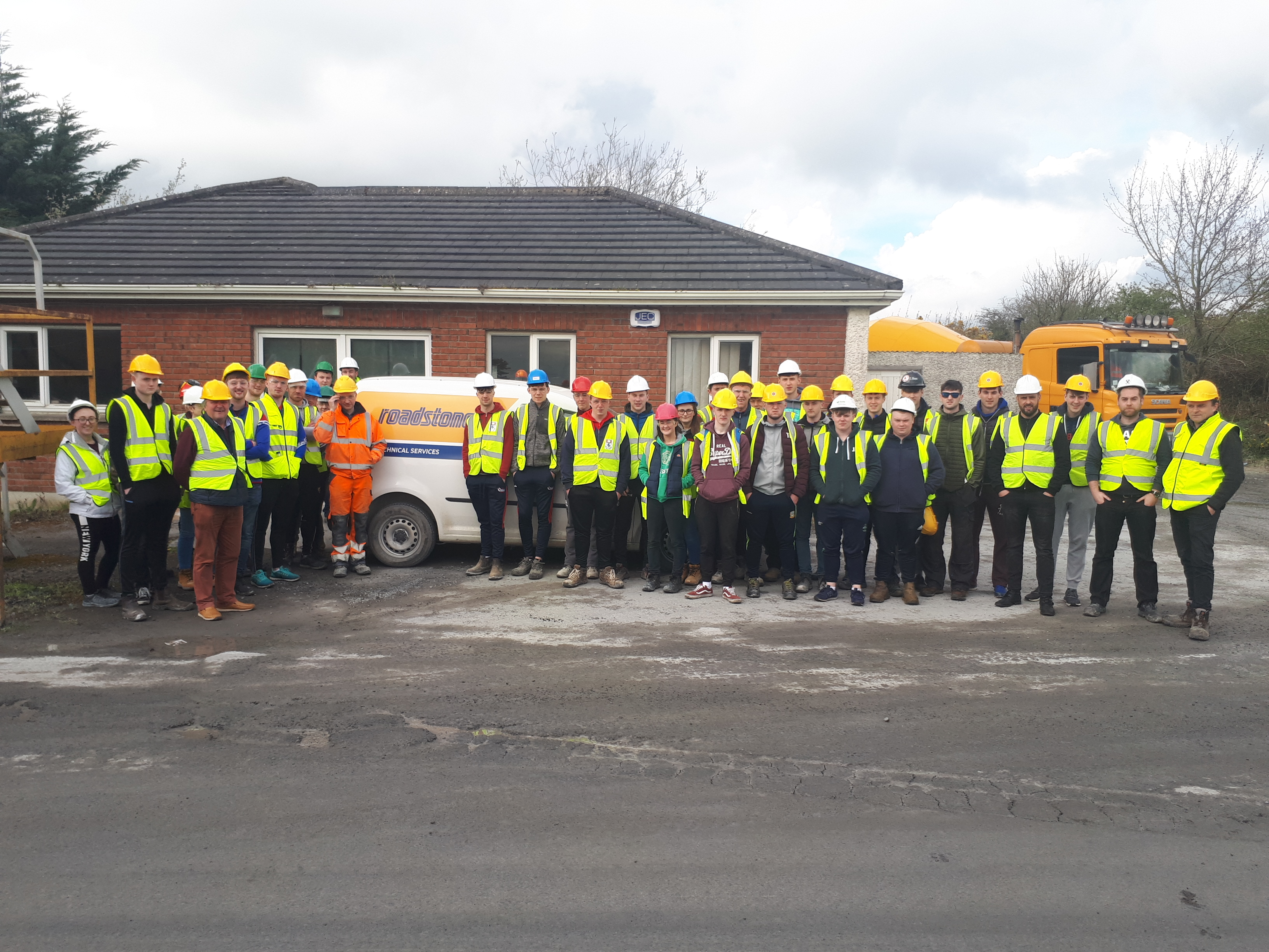 Group photo of WIT students at CRH Roadstone Kilmacow