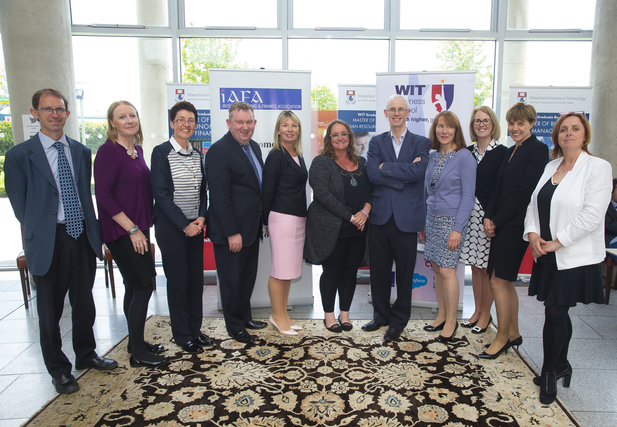Irish Accounting & Finance Accociation Annual Conference at WIT (Waterford Institute of Technology). Pictured are Sean Byrne WIT, Ruth Mattimoe DCU, Sheila O'Donohoe WIT, Joseph Coughlan NUI Maynooth, Geraldine Doyle UCD, Professor Jill Atkins, Ray Donnelly UCC, Rosmarie Kelly WIT, Elaine Doyle University of Limerick, Joan Ballantine Ulster University and Clare Kearney WIT . Picture: Patrick Brown
