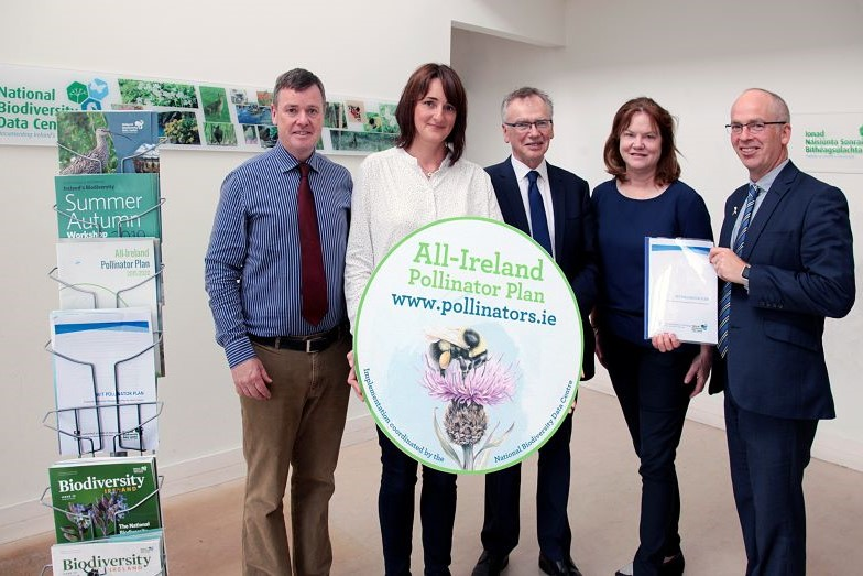 Present for the signing in July 2019 from WIT; President Willie Donnelly, Head of the School of Science Dr Peter McLoughlin, Head of the Department of Science Dr Orla O Donovan and horticulture lecturer Yvonne Grace and Director of the National Biodiversity Data Centre Dr Liam Lysaght.