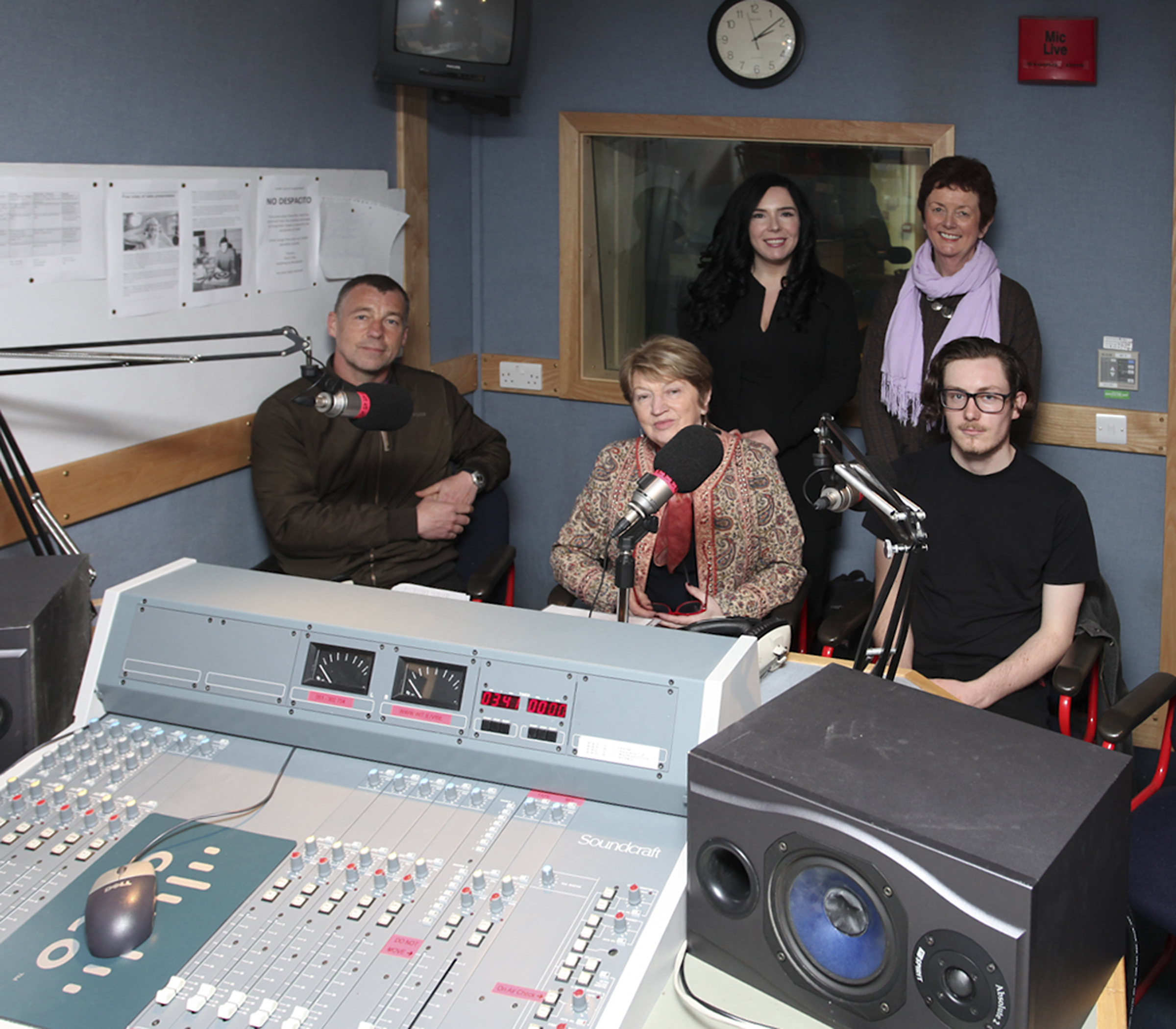 Pictured left to right: students (seated): Michael Power, Mary McCarthy, George Morgan-Busher. Lecturers (standing): Fiona Ennis, Margaret O'Brien