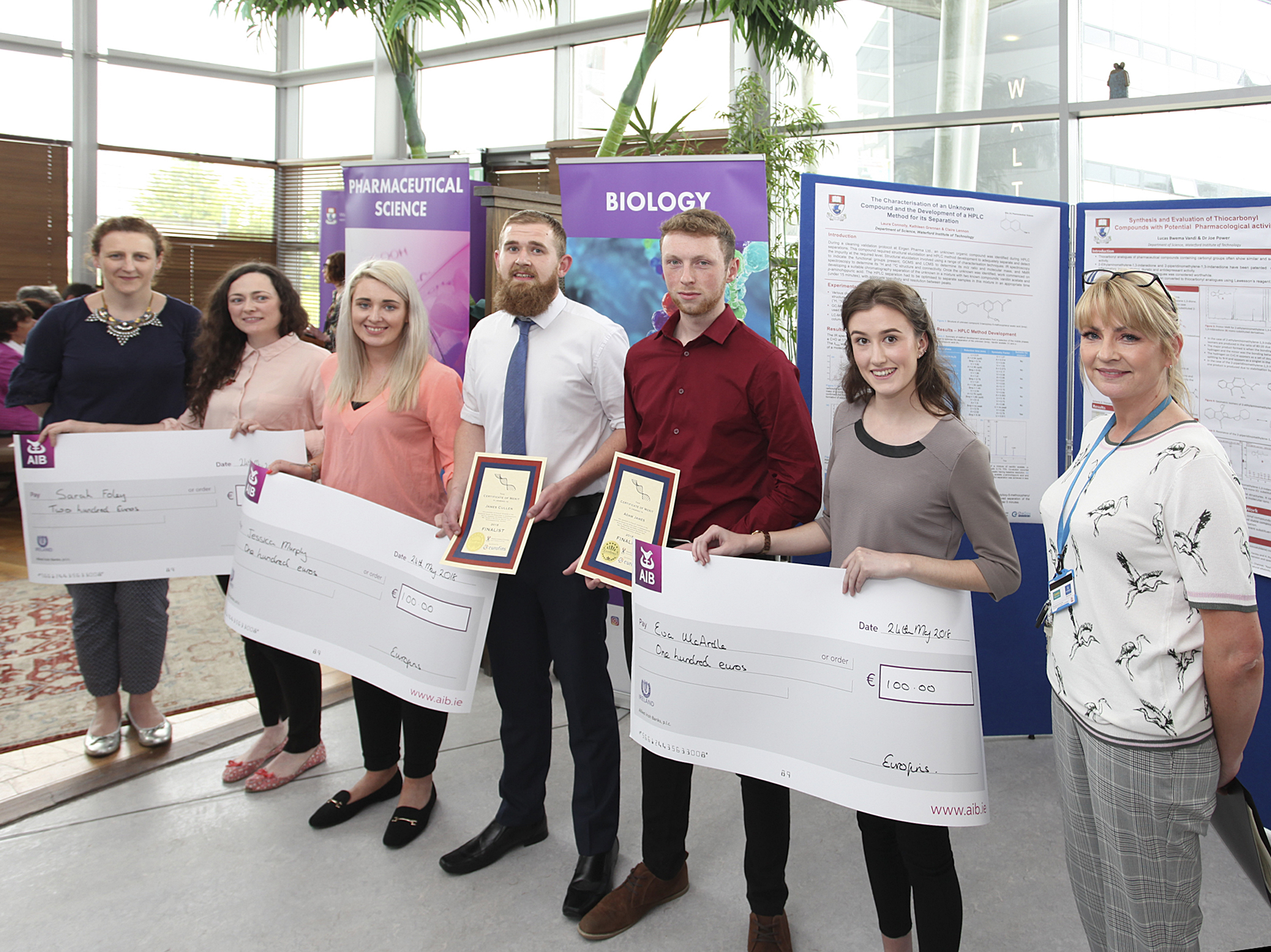 From left to right: Michelle Mannix (Eurofins), Sarah Foley, Jessica Murphy, James Cullen, Adam James, Eva McArdle, Dr. Audrey Hearne (Programme Leader) at the 2018 Science awards at WIT