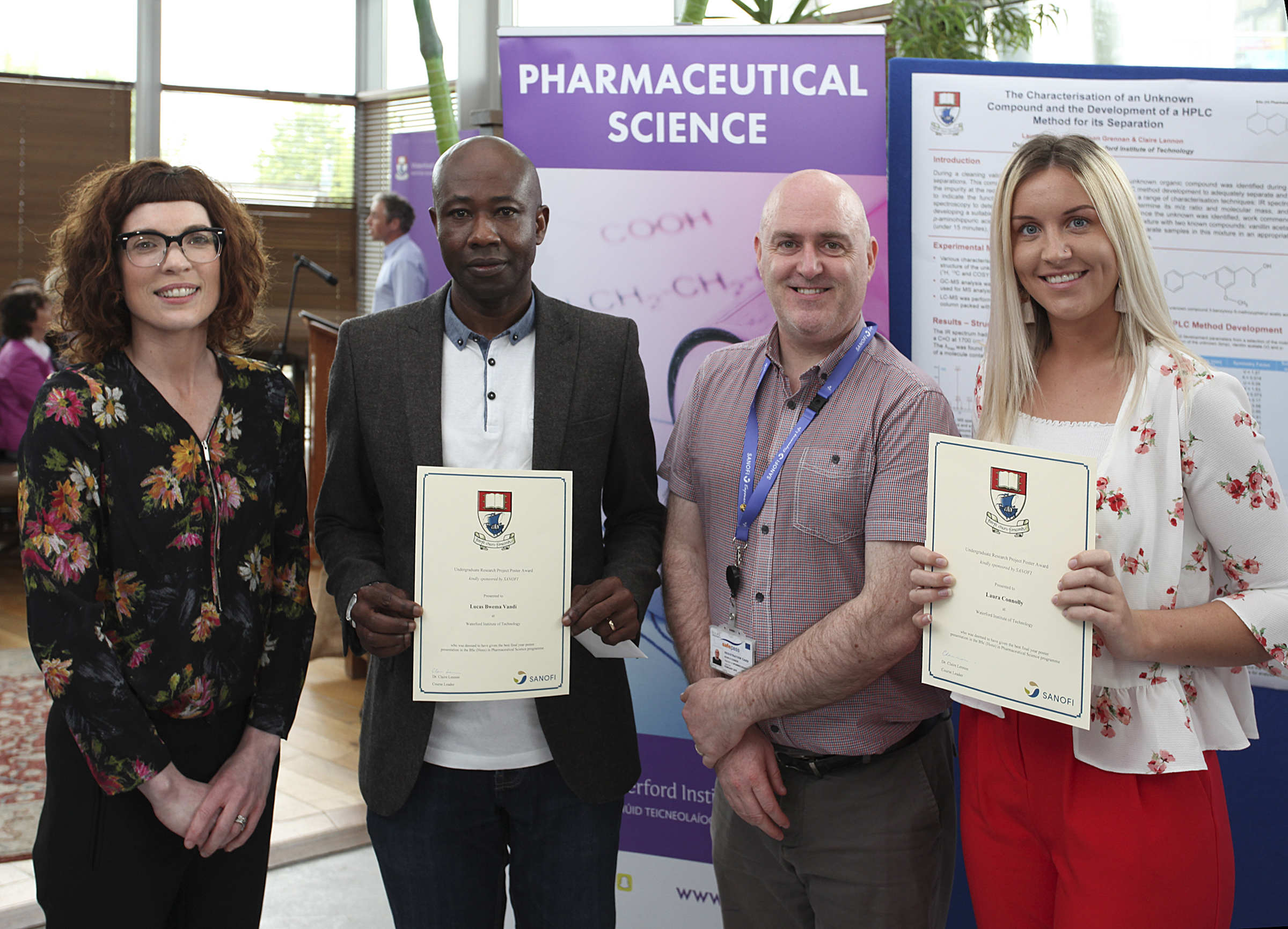 Students of the BSc (Hons) in Pharmaceutical Science course Laura Connolly and Lucas Bwema Vandi were the winners of the Final Year Research Project Poster Award which was sponsored by Sanofi. Pictured second from left is Lucas.