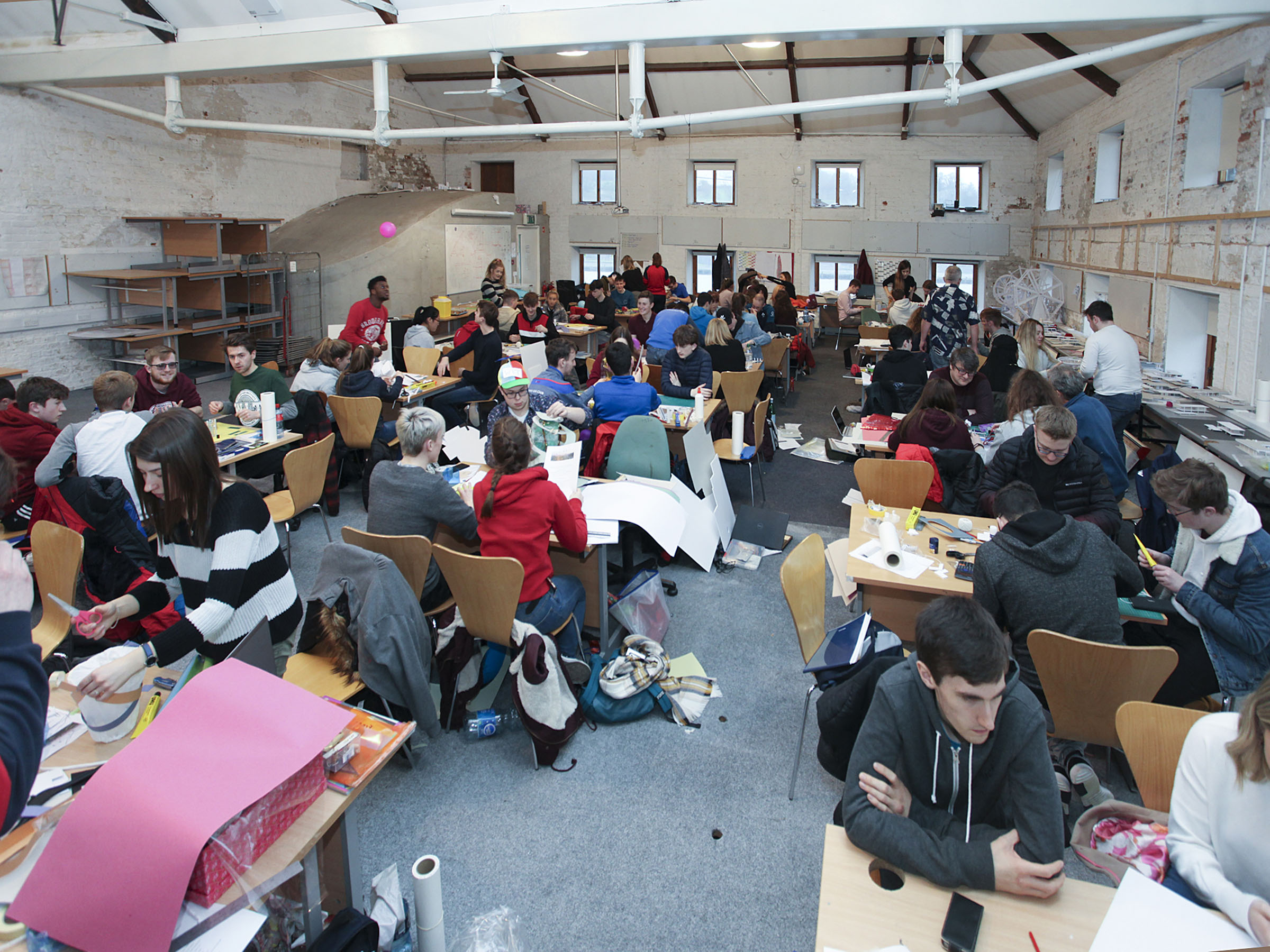 Second level students in one of the studios at the Granary
