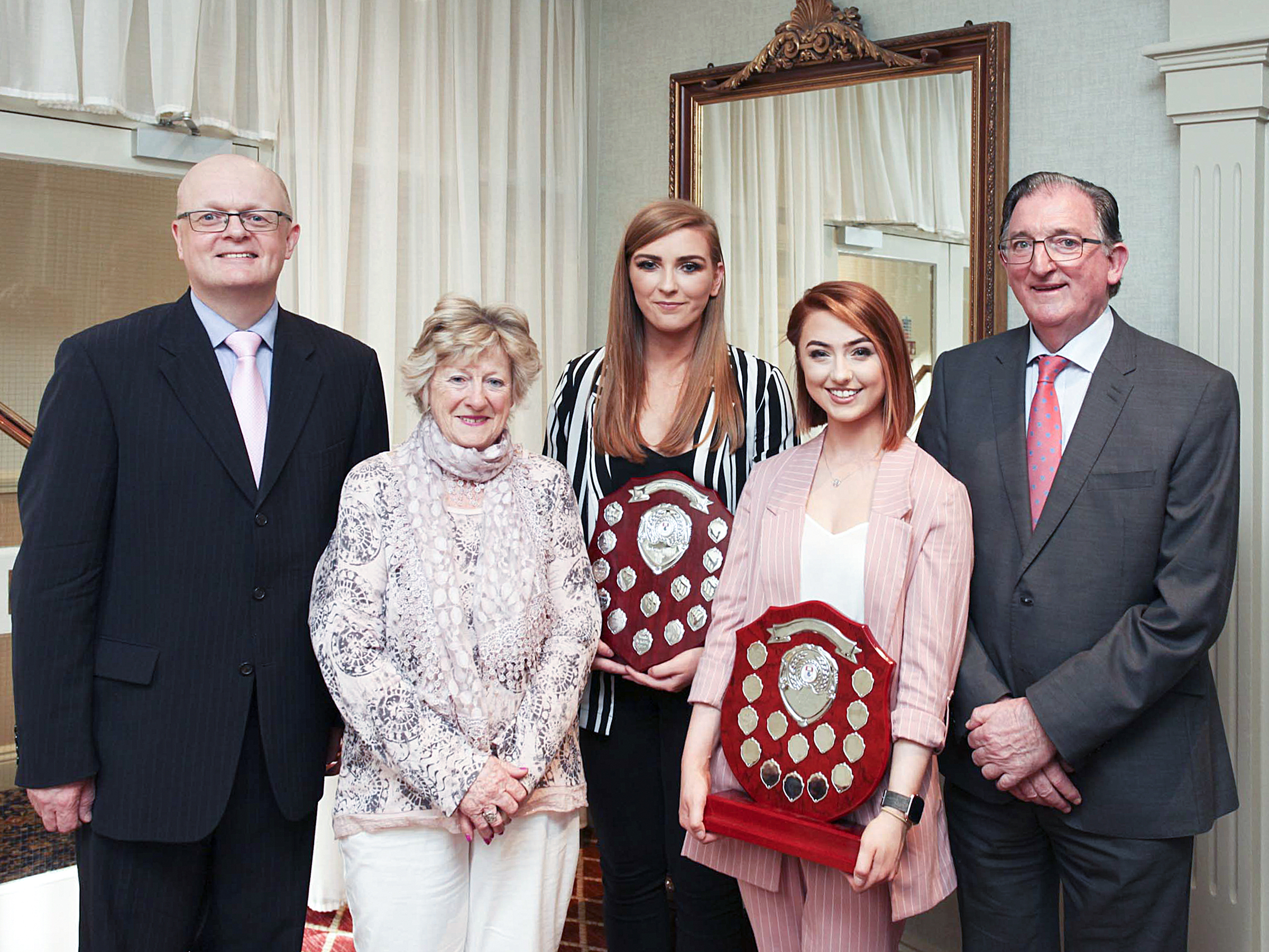 Photo (from left): Dr Thomas O'Toole, (Head of School of Business, WIT), Ann Cusack (Granville Hotel), Aoife McAuliffe (winner), Chloe Driver (winner), Liam Cusack (Granville Hotel).