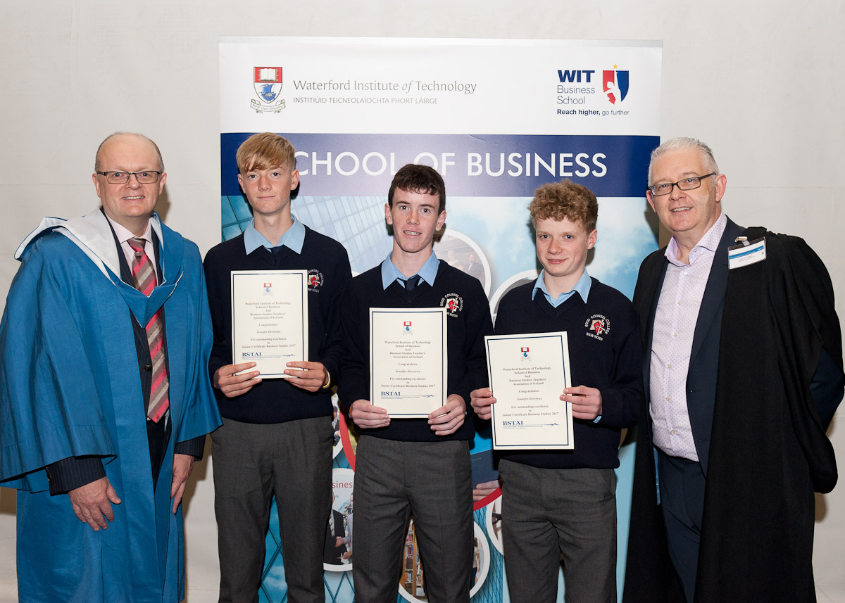 Good Counsel College, New Ross Students from Good Counsel College, New Ross, were presented with Waterford Institute of Technology/BSTAI Junior Certificate Awards, for achieving 'A' grades in their Junior Certificate Honours Business Studies, pictured from left: Dr. Tom O'Toole, Head of School of Business, WIT; John Grace, Edward Pendergast, Ruairi O'Brien and Pat Younger, Chairperson, BSTAI. Phot