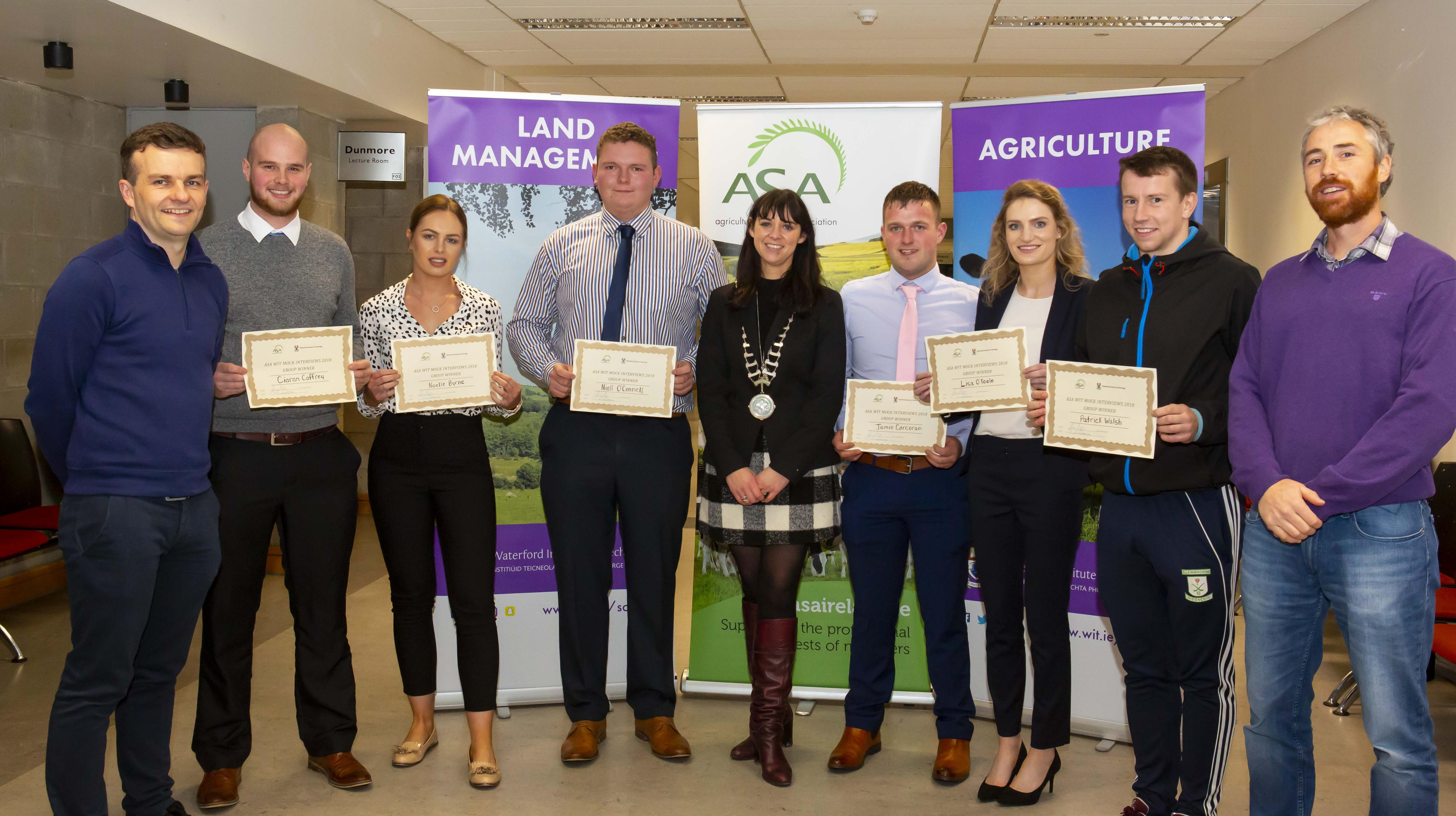 Winners of each group recieved their awards. L-R- Michael Breen, WIT; Ciaran Caffrey; Noelle Byrne; Niall O'Connell; Amii McKeever, ASA President; Jamie Corcoran; Lisa O'Toole; Patrick Walsh, Tony Woodcock, WIT (missing John Murphy) Photo by: Mary Browne
