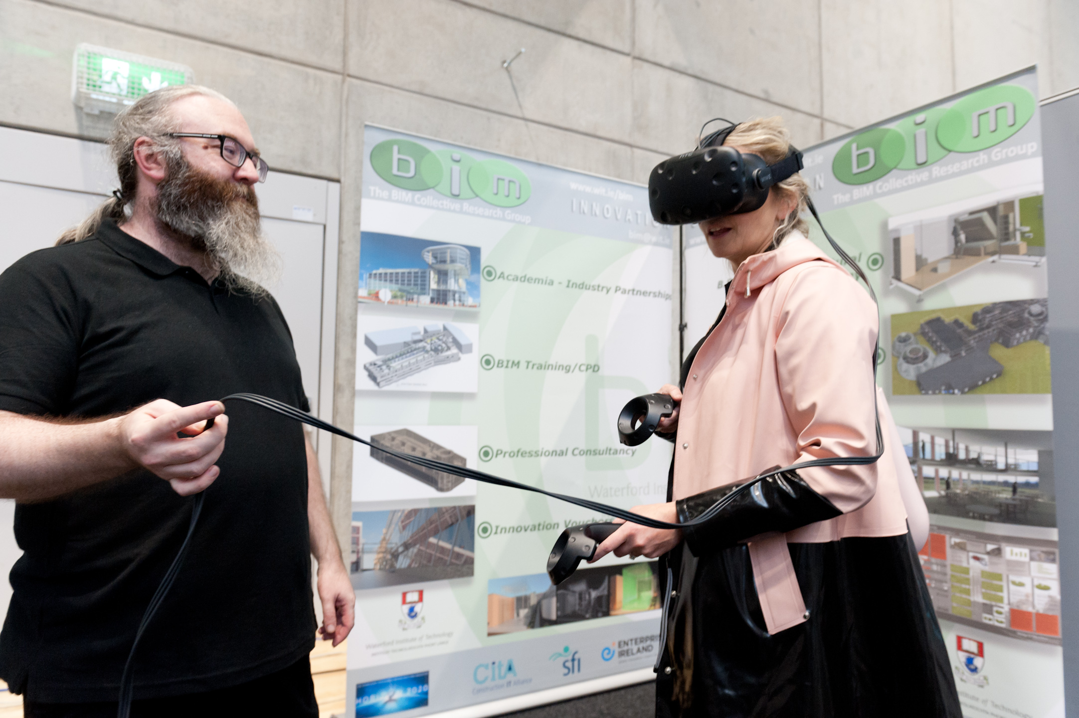 Pictured in 2018 was Claire Joyce of Gaelcholaiste Phort Láirge trying out some VR Technology under the guidance of Brian Monaghan, The BIM Collective Research Group; at theToys 4.0 Engineers Conference & Expo at Waterford Institute of Technology.