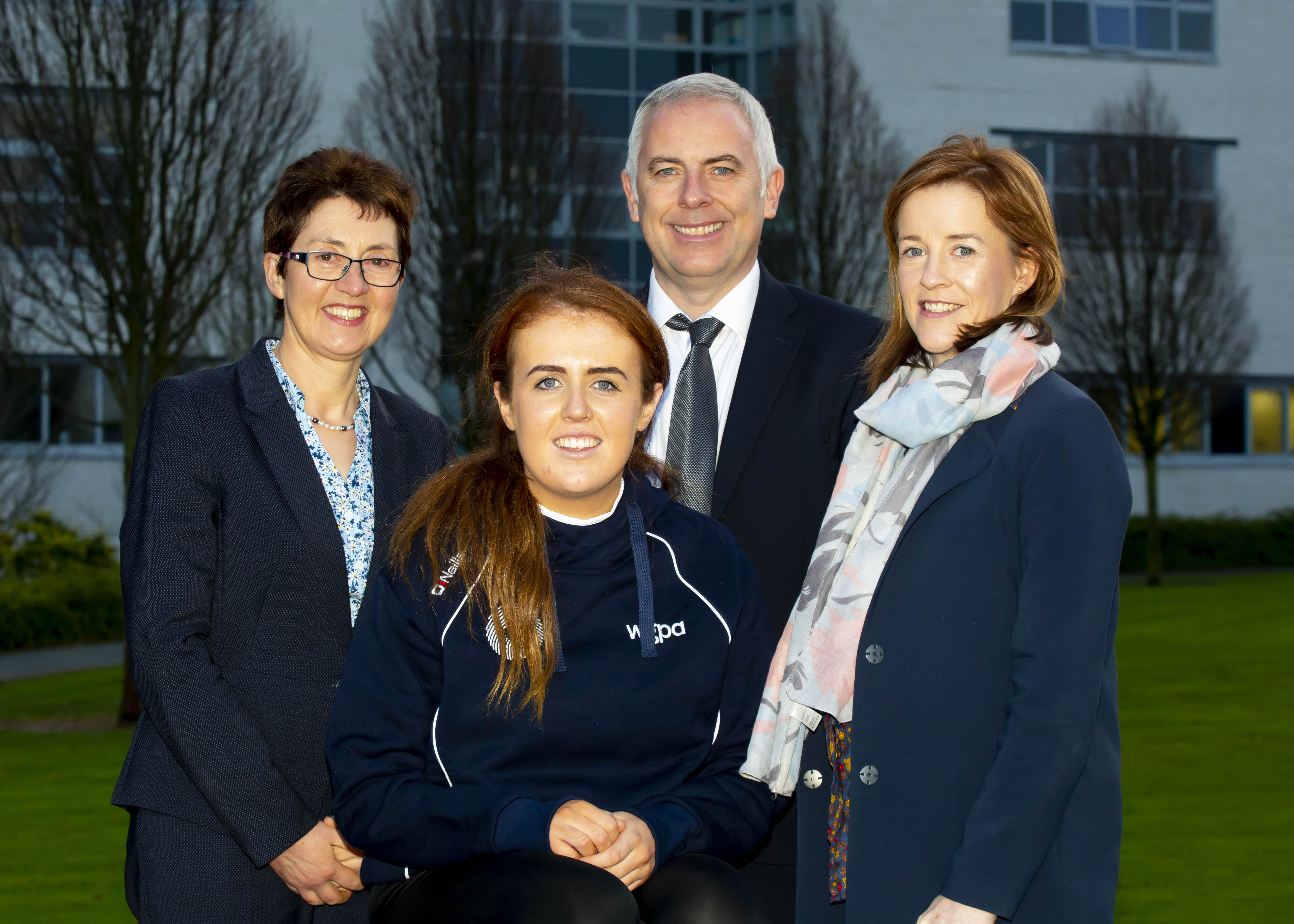Dr Sheila O Donohoe, Programme Leader MBS Economics and Finance and Dr Paul Morrissey, Programme Leader of the MBS Marketing, Management and HR, Iona Heffernan, WGPA scholarship recipient and Kate Kelly, WGPA.