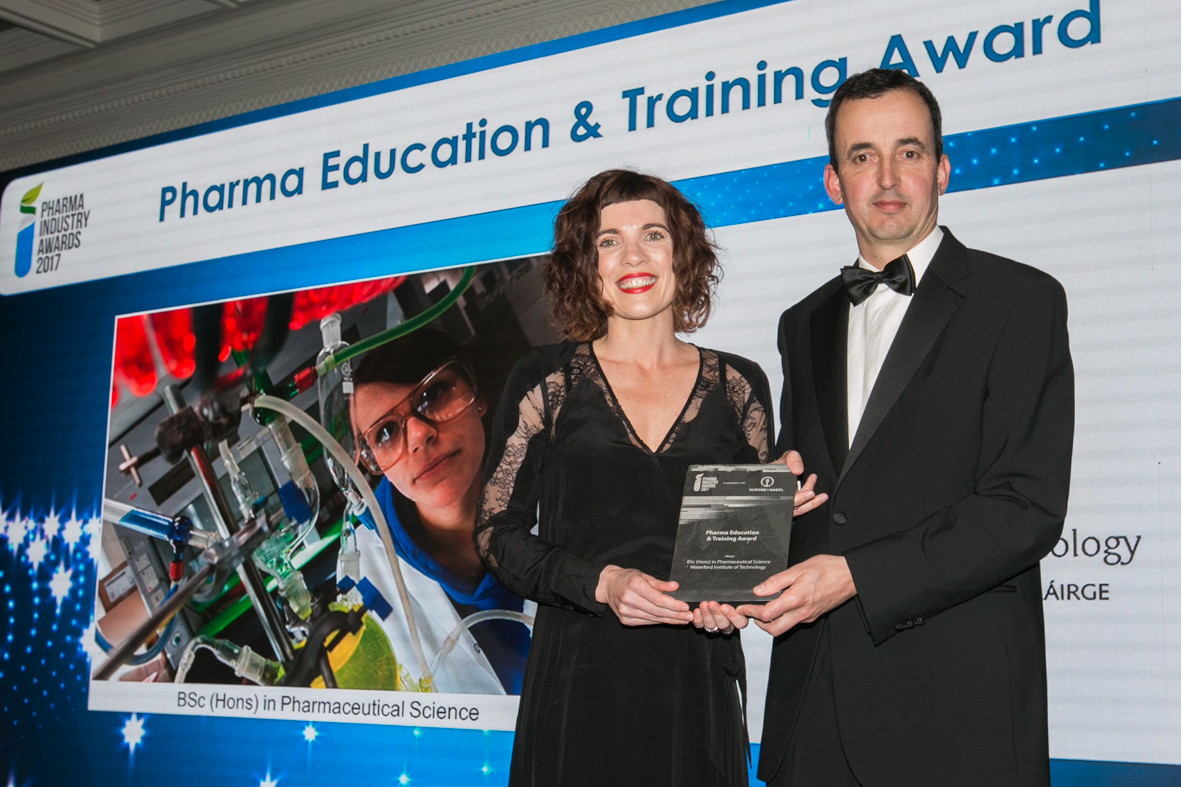 Pictured is course leader Claire Lennon, accepting the Pharma Education & Training Award