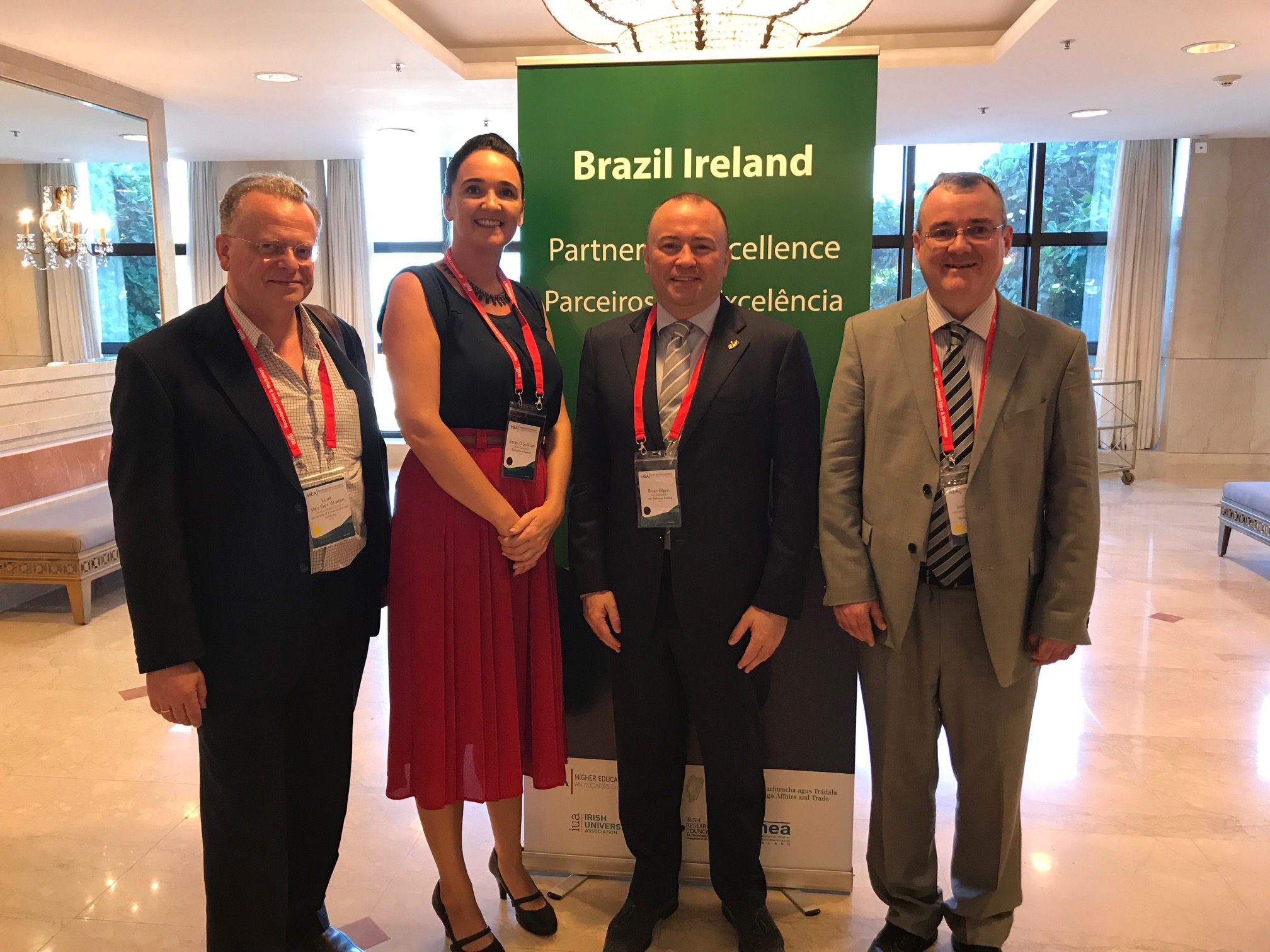 Left to right: Luuk A.M. van der Wielen, University of Limerick; Sarah O'Sullivan, Education in Ireland; Brian Glynn, Irish Ambassador to Brazil, Brasilia; James Clarke, Waterford Institute of Technology.