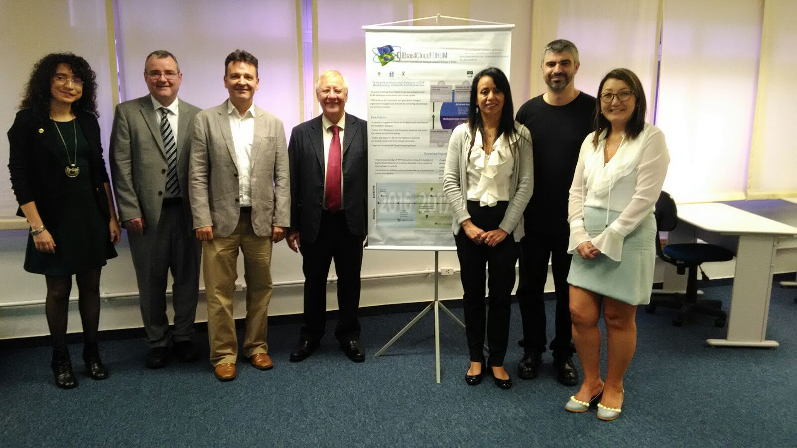 EUBrasilCloudFORUM project team (left to right): Rita Meneses, Trust-IT Services, UK and Italy; James Clarke, Waterford Institute of Technology, TSSG, Ireland; Antônio Augusto Fröhlich, The Federal University of Santa Catarina, Brazil; Moacyr Martucci Jr., University of São Paulo, Brazil; Priscila Solis, University of Brasília, Brazil; Marco Vieira, University of Coimbra, Portugal; Cecilia Emi Yamanaka, University of São Paulo, Brazil.