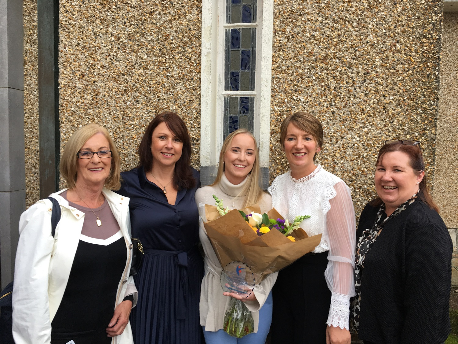Mrs Scanlon (mother of the winner), Ms Gwen Daniels Director of Nursing, UPMC Whitfield, Ms Fiona Scanlon Preceptor of the Year (General), UHW, Dr Sara Kennedy WIT, Ms Trish Lane Director of Clinical Services, UPMC Whitfield