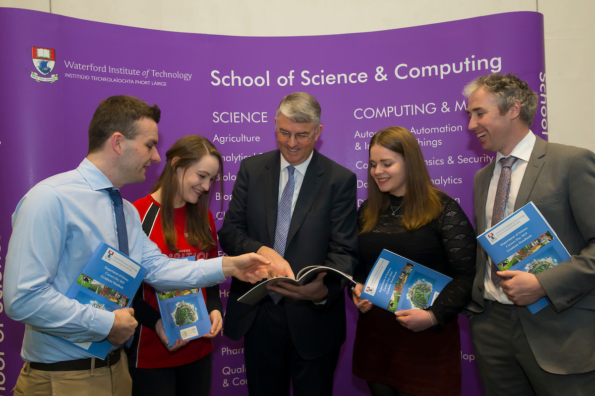 Pictured at the Waterford Institute of Technology Science Careers Day. Pictured are Michael Breen WIT, Susan Queally, Grad prog officer, Edward Colgan Agri Business Associate, Jim Bergin Glanbia, Michelle Ward who joined the graduate programme last sept and Tony Woodcock WIT. Picture: Patrick Browne