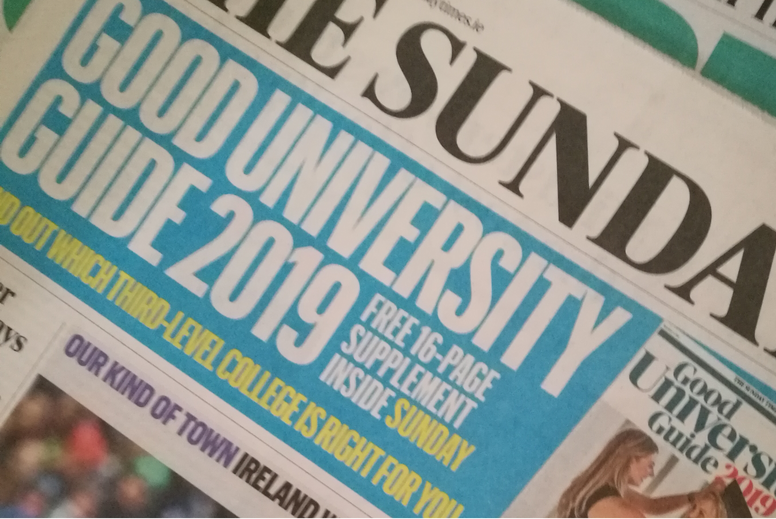 WIT, in 7th place for 2019, jumped five places in one year. Altogether 21 higher education institutes are listed.