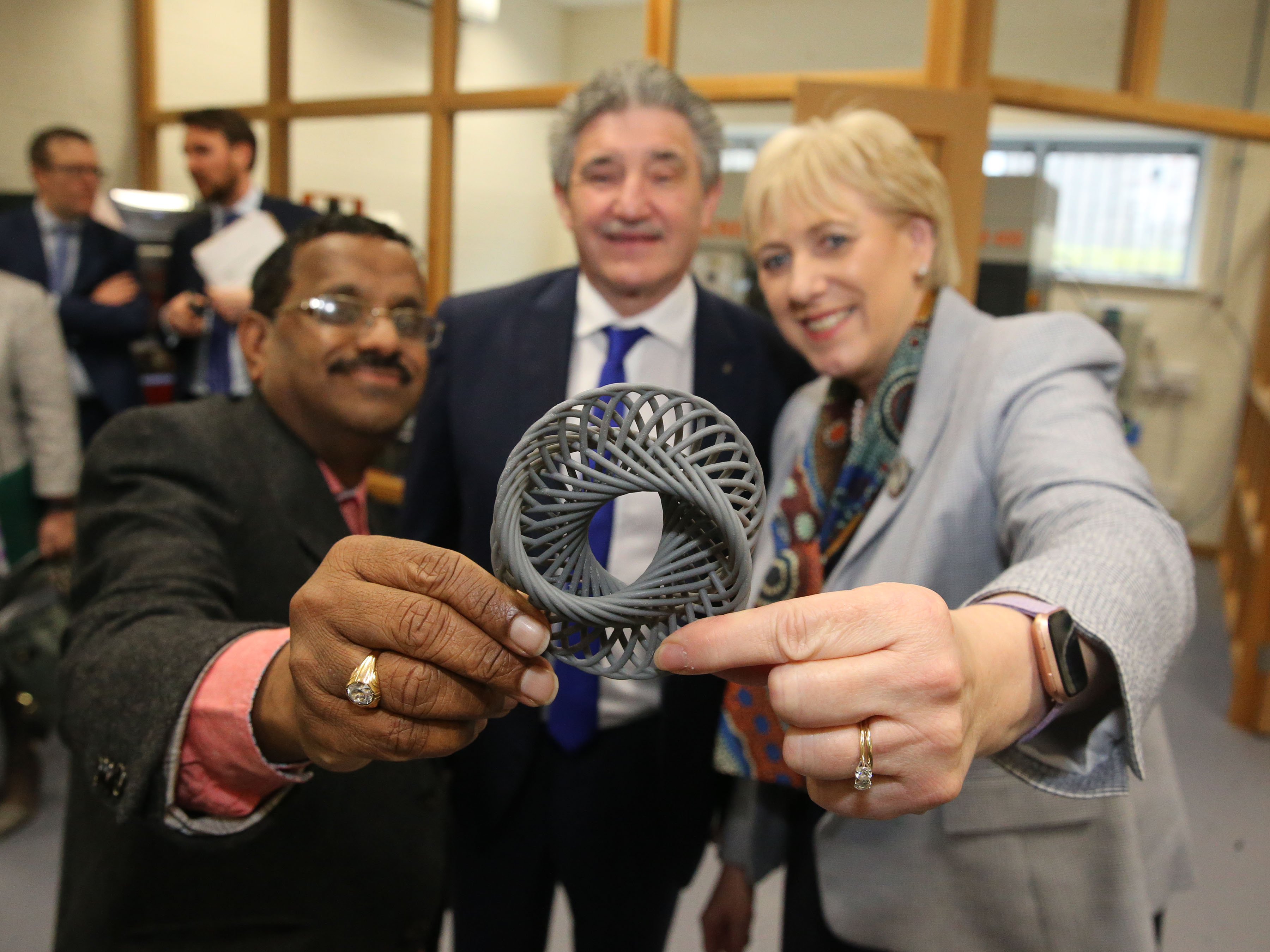 Photo caption: Pictured at the launch of 3DWIT are from left Dr. Ramesh Raghavendra, SEAM Centre Director;  Minister John Halligan T.D., Minister of State for Training, Skills & Innovation; Minister Heather Humphreys, T.D., Minister for Business, Enterprise & Innovation. Photo: Patrick Browne