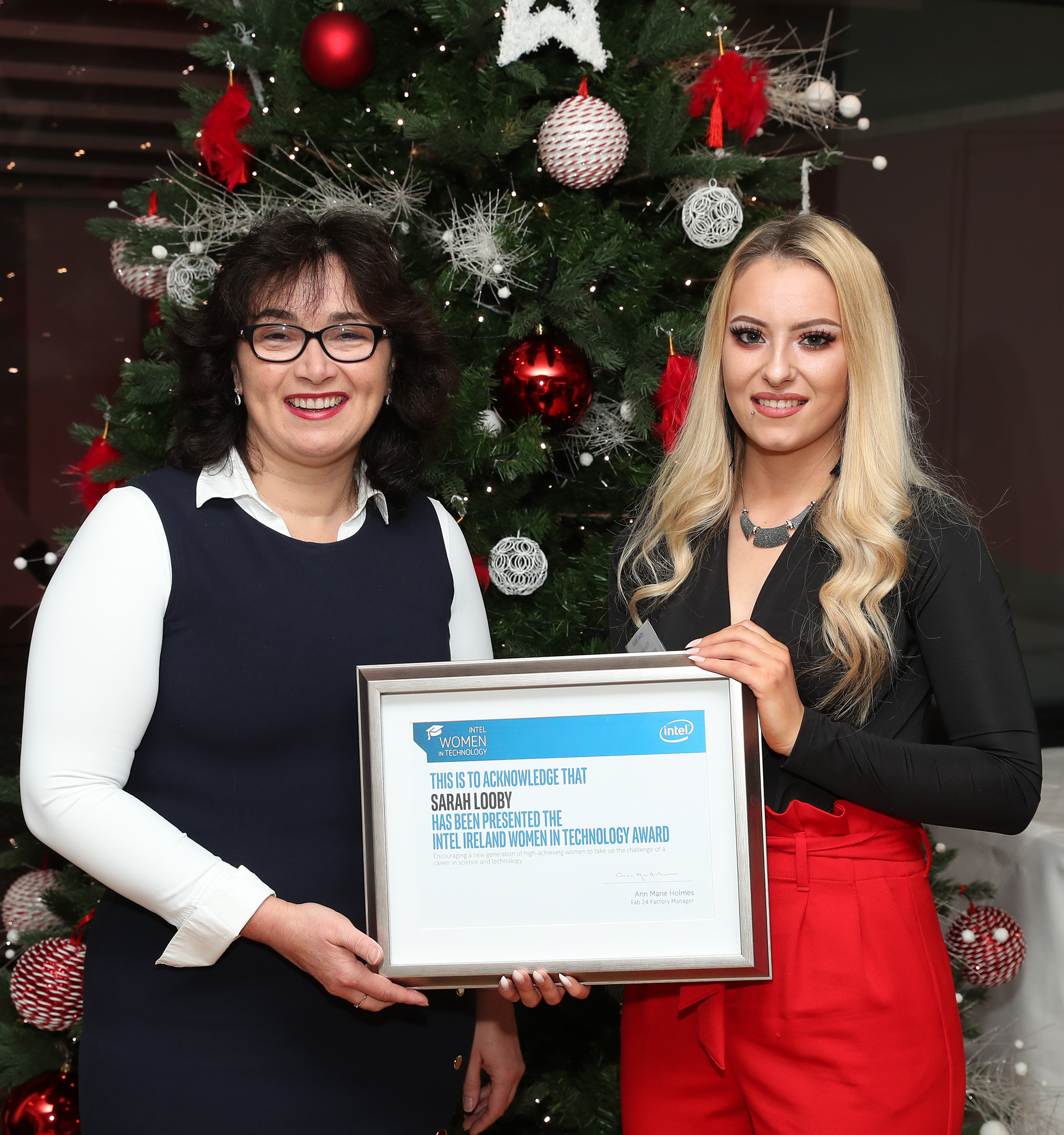 Pictured at the awards are Sarah (right) and Programme Leader for the BEng in Manufacturing Engineering (left)