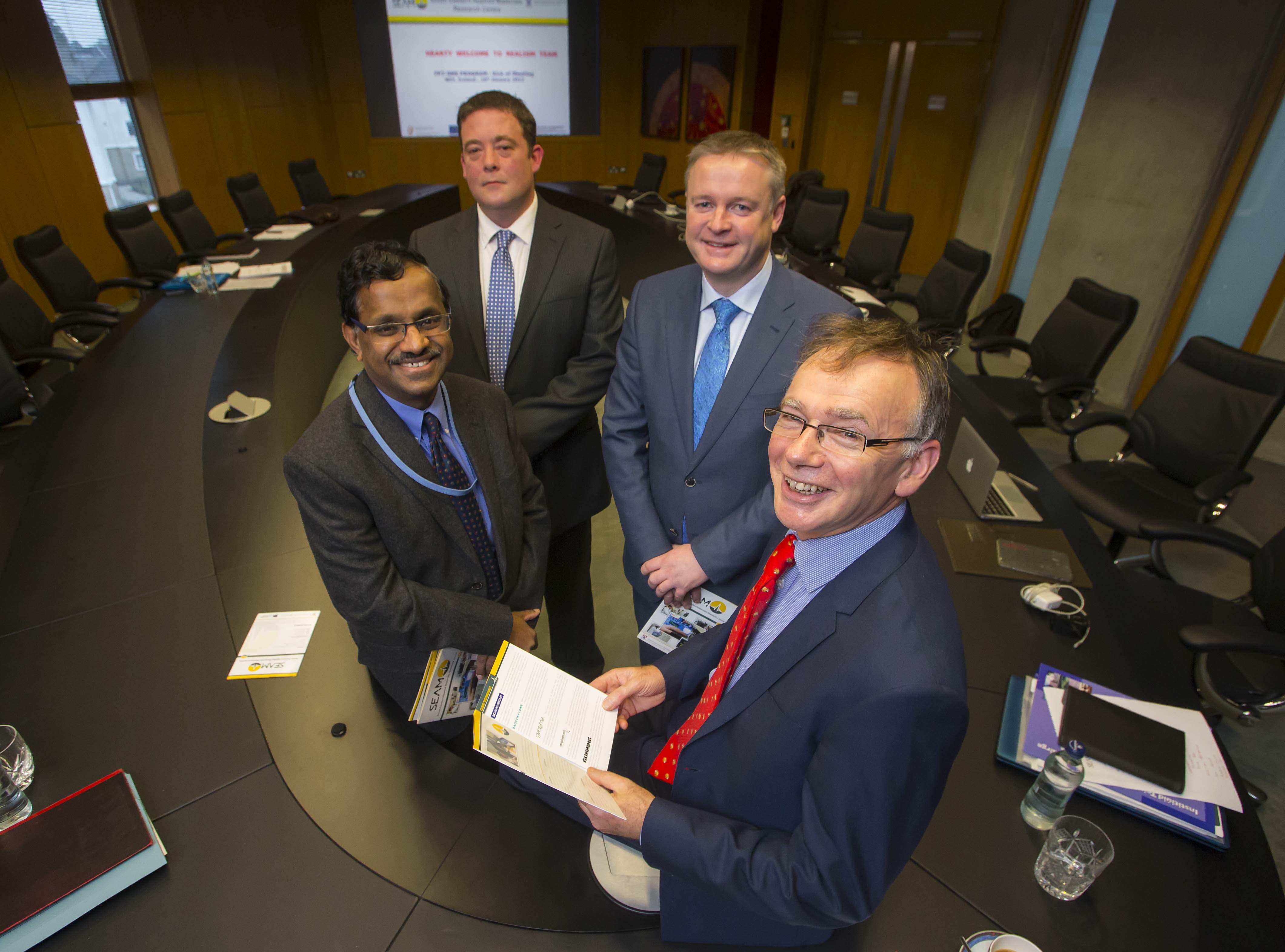 Dr. Ramesh Raghavendra, SEAM; Jonathan Downey, Schvio; Seamus Kilgannon, Schivo; Prof. Willie Donnelly, WIT