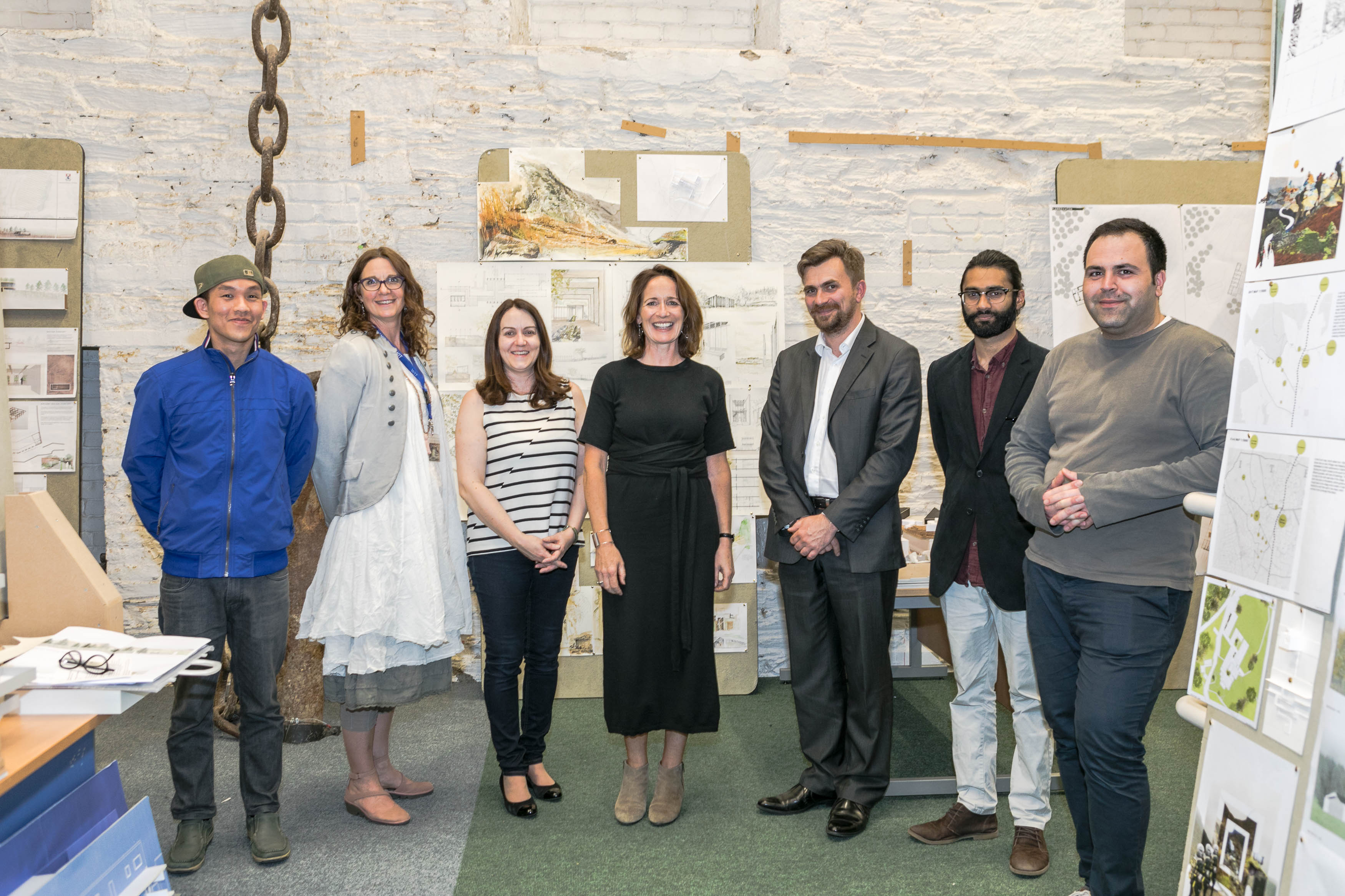 Andrew Yeoh, 4th year BArch, Jane Russell O'Connor WIT, Sharon O'Brien WIT, Ms Carole Pollard, President of the RIAI,  Aleksandar Kostić, Acting Head of the Department of Architecture, Gencho Dishev & Bilal Jawaheer both  4th Year BArch. Photo credit; Ann Power WIT