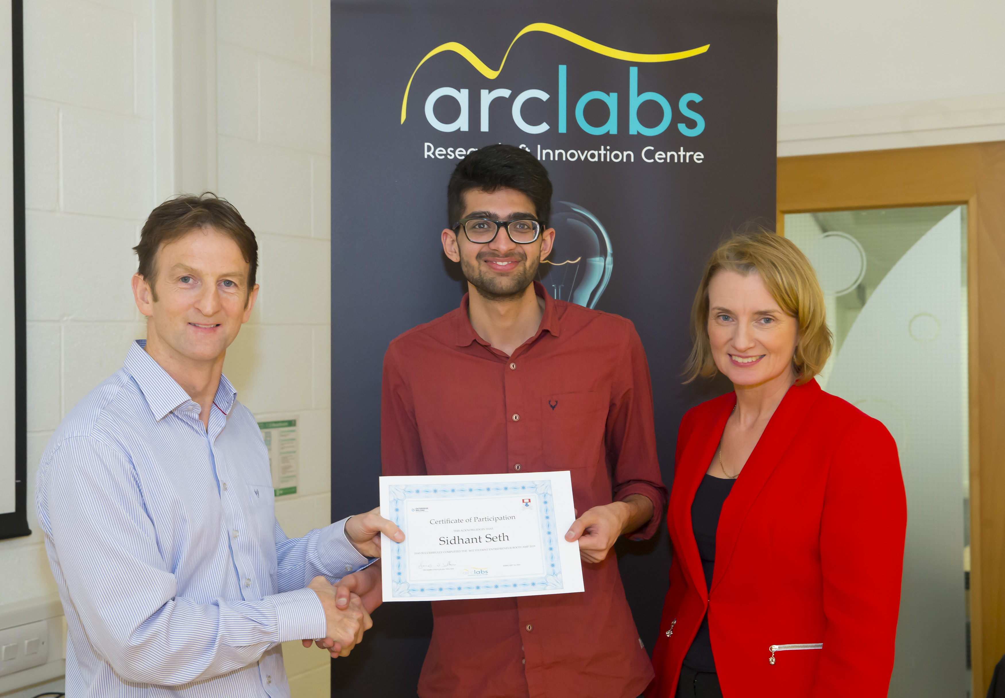 Dr James O'Sullivan, WIT with Student Entrepreneur Bootcamp pitch winner Sidhant Seth and judge Kathryn Kiely, President of Waterford Chamber of Commerce