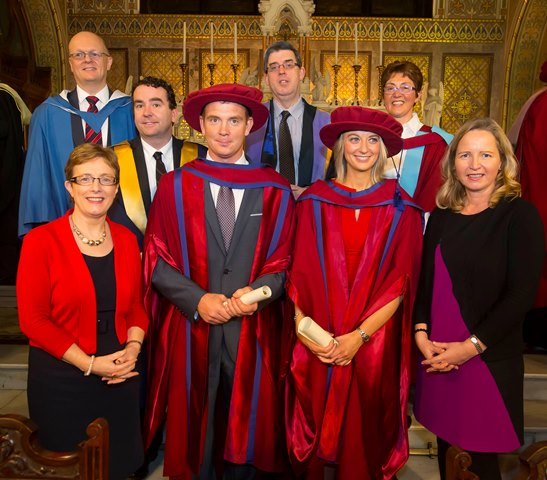 Marian Kean, AIB, PhD graduates Padraig McCarthy and Andrea McNamara; Noelle Chambers, Dr Tom O'Toole, Dr Ray Griffin, Ger Long and Dr Sheila O Donohoe, WIT