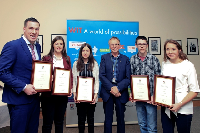 From Left: Cian O'Grady,  student of the School of Humanities, Roisin O'Donnell, student of the School of Science, Louise Dunphy, student of the School of Business, Professor Willie Donnelly President of Waterford Institute of Technology; Gareth Dineen, student of the School of Engineering, Hannah Nash, student of the School of Health Sciences