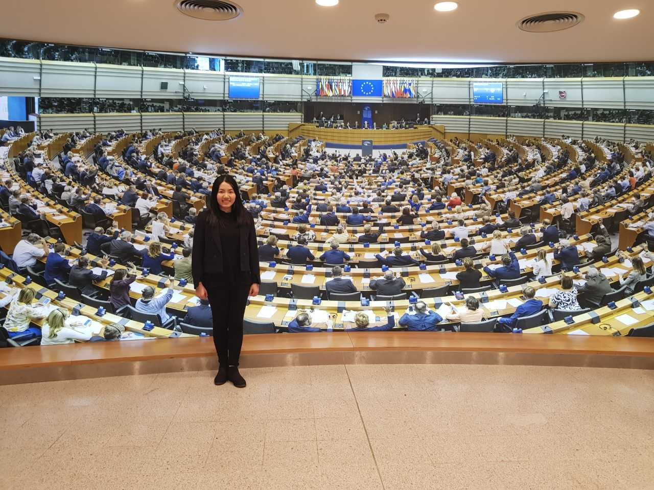 Pictured at the European Parliament on a study trip is Anh Le