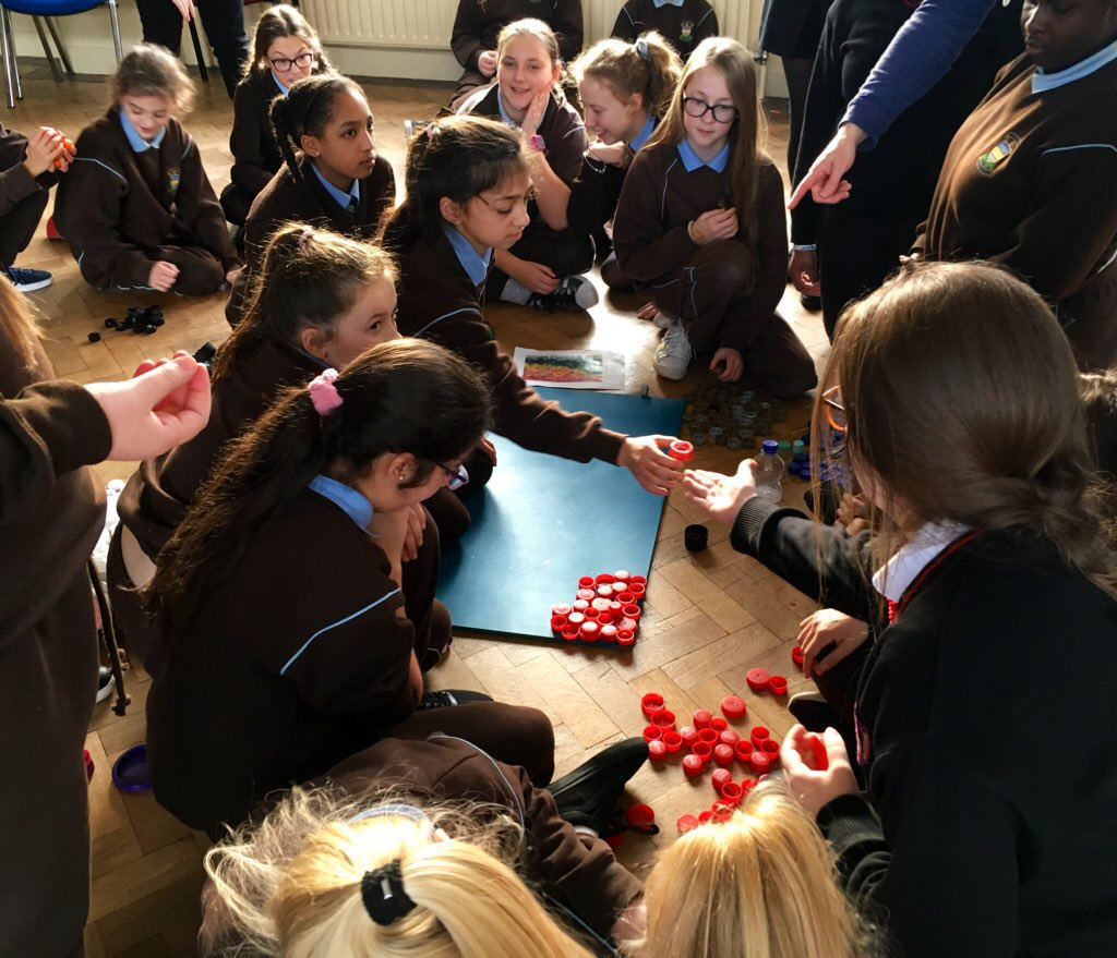 Presentation Primary School pupils and TY students from Presentation Secondary School Waterford are using plastic toys and bottle tops to create wonderful yet thought provoking pieces of art