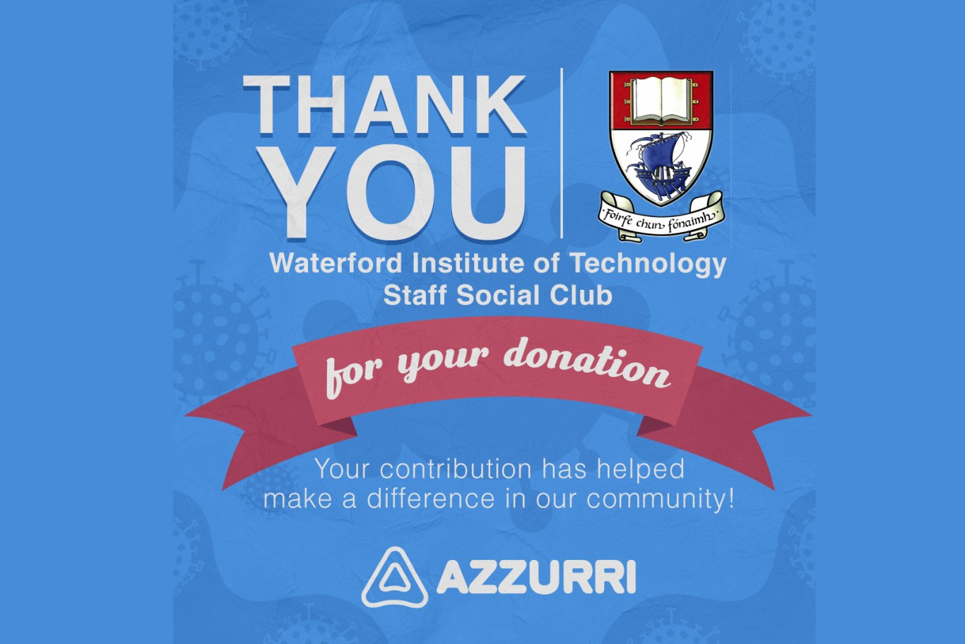 Azzurri welcomed the donation from the WIT Social Club