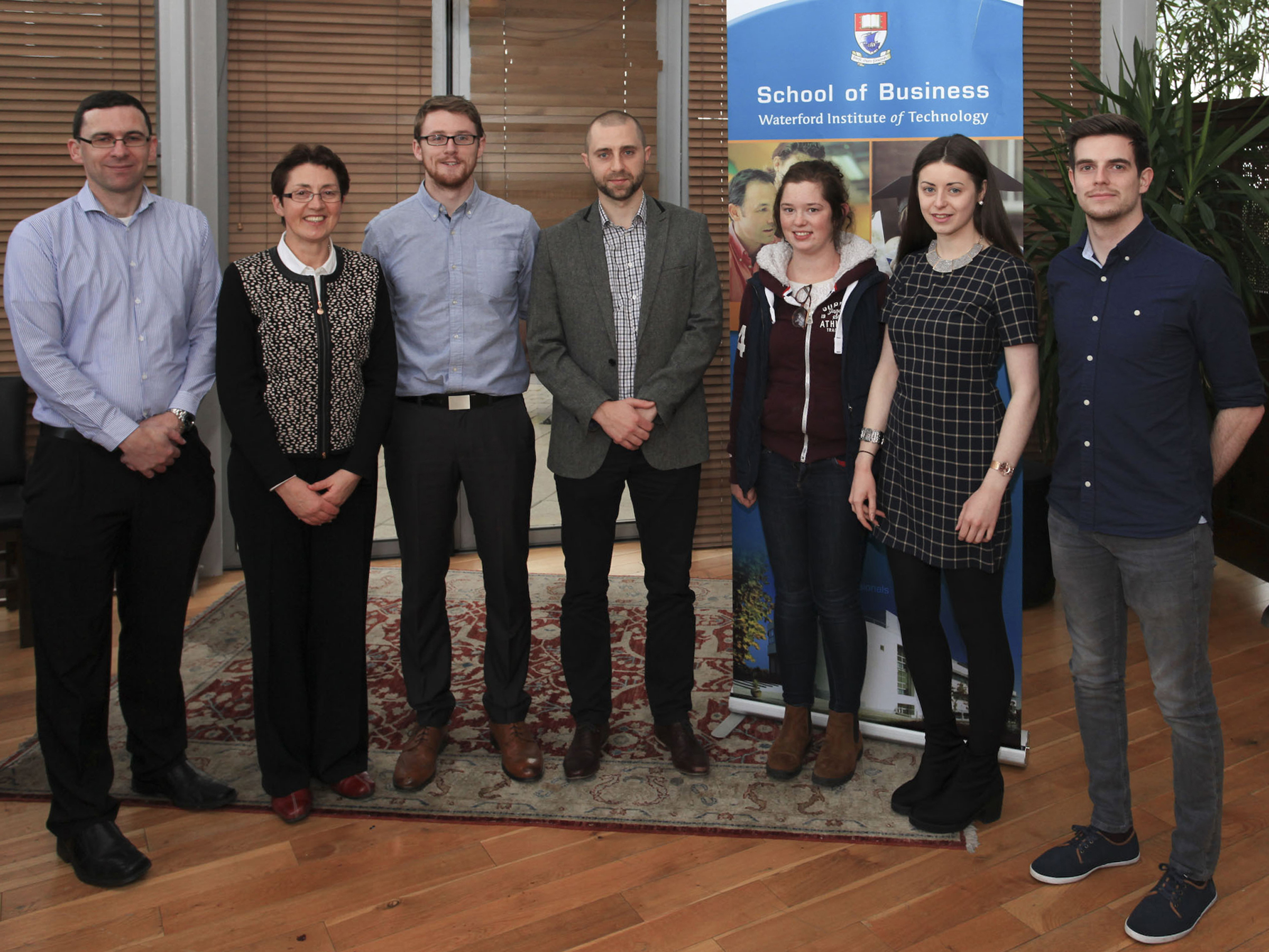 Pictured is guest speaker Shane Mallon of Dawn International along with staff members in the School of Business and students from BBS 4 (E&F) and BA Finance and Investment.
