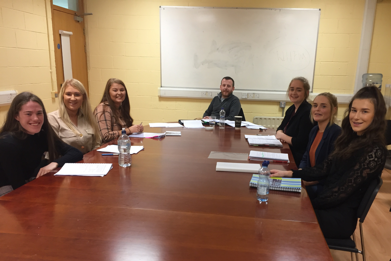 Scott Jevons Employer Relations Executive,IBEC with final year students on Bachelor of Business (hons) HRM specialism during their live mock adjudication.