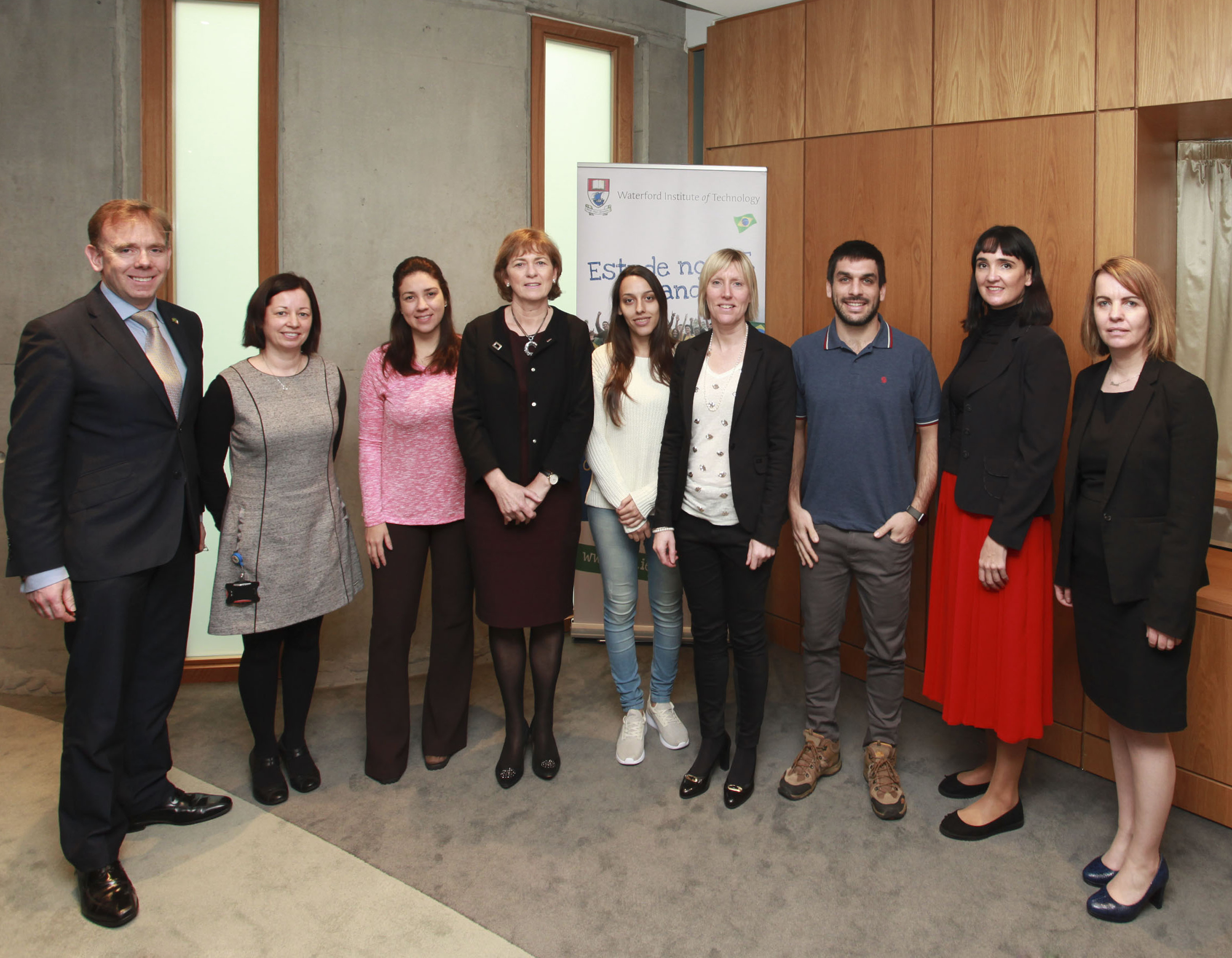 From left: Don O' Neill, WIT; Claire Fitzpatrick, WIT; Ms. Samira Marques Bossoni - Education Agent; Joan Mc Donald, Head of Department of Management and Organisation WIT; Flavia Barbosa Bernardes - Education Agent; Sinead Day, International Affairs Manager WIT; David Mandil- Education Agent; Sarah O' Sullivan, Enterprise Ireland; Fiona Purcell, International Office, WIT.