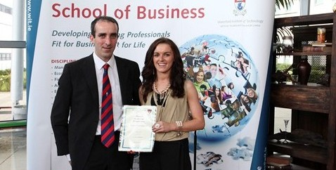Bachelor of Business (Hons) Marketing student Siobhan Crotty with Brian O' Sullivan, past graduate and Snr Manager, Ulster Bank
