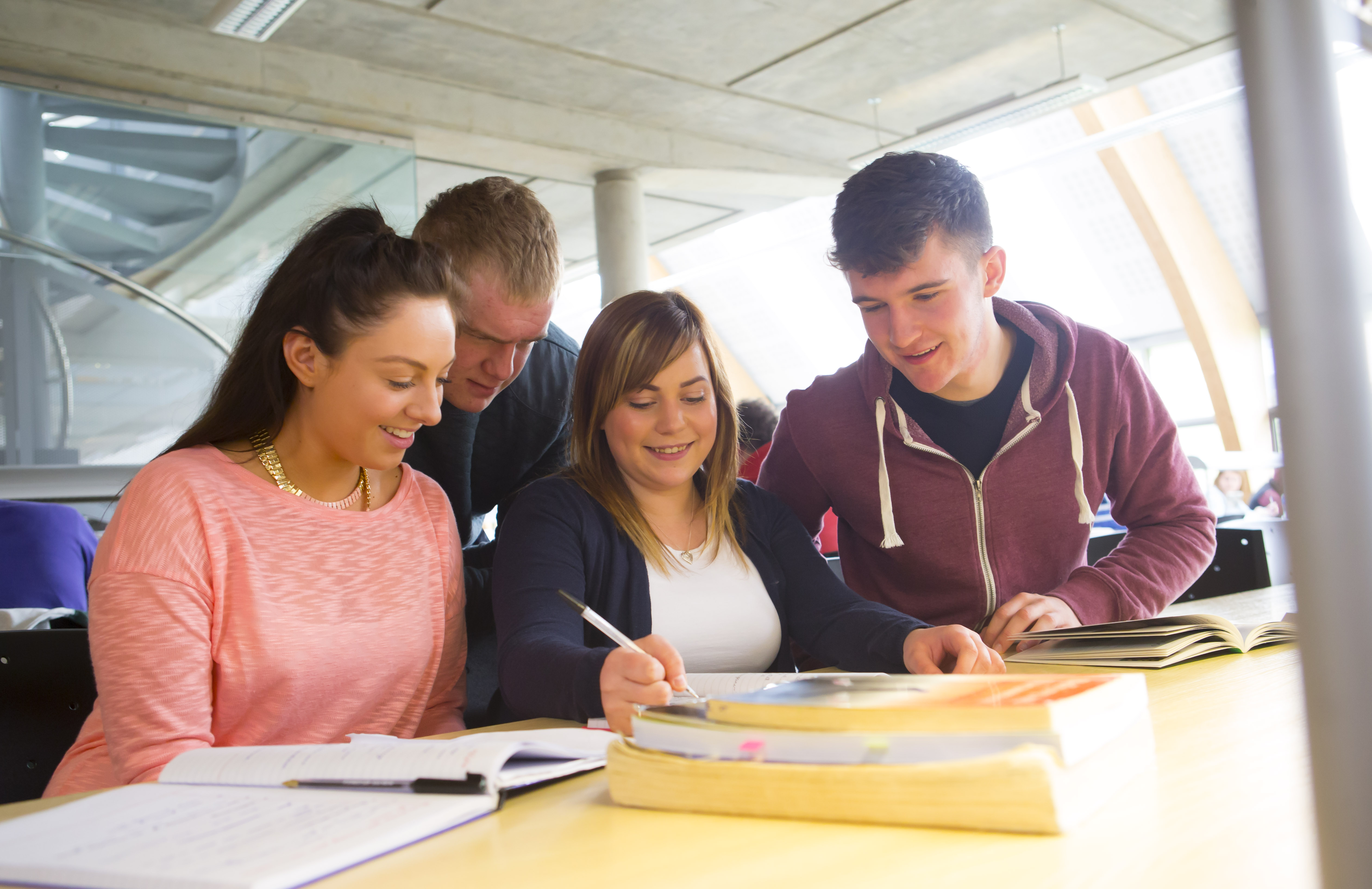 WIT students working together in the Luke Wadding Library on the Cork Road campus