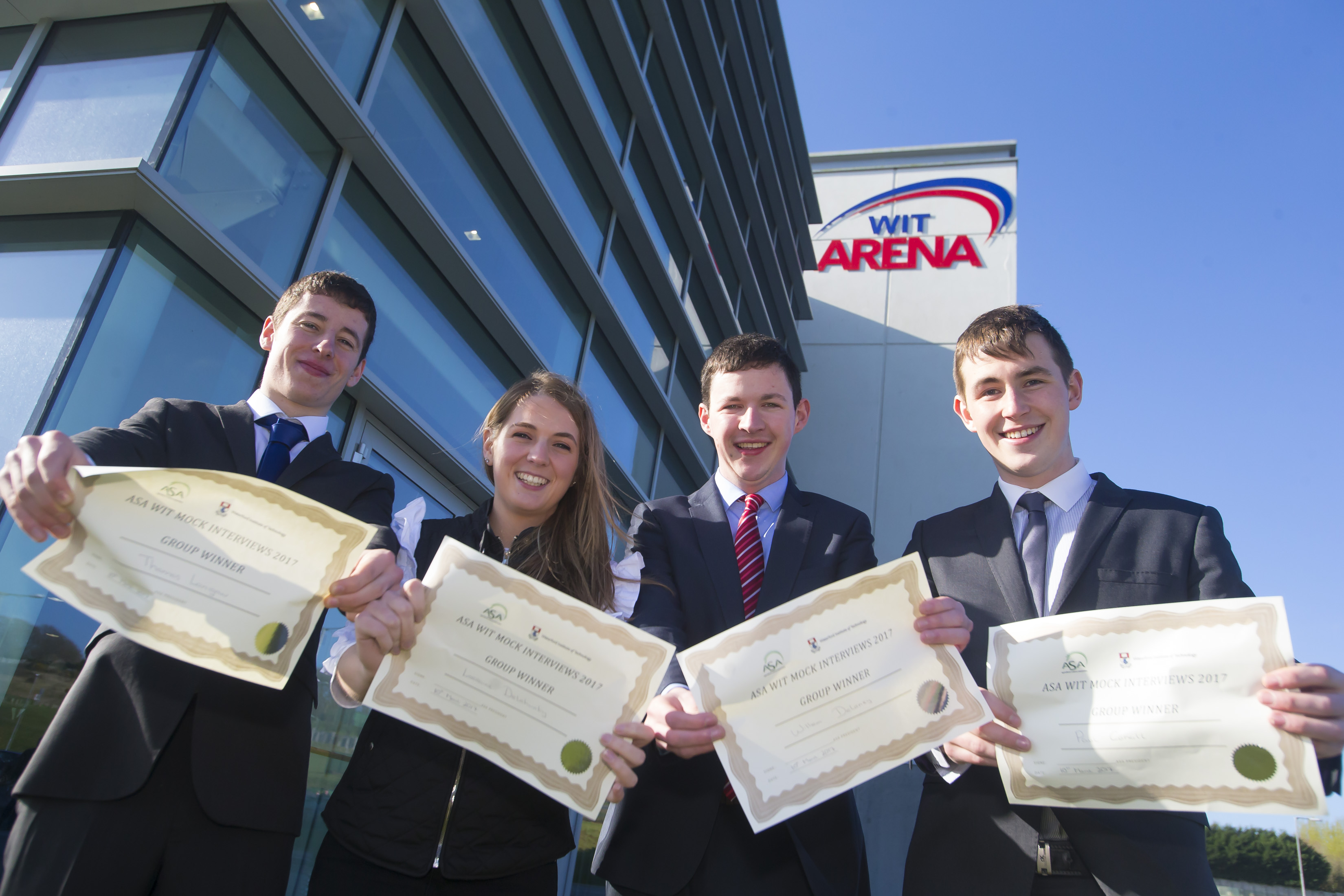 The Agriculture Science Association mock interview winners who were present at the Land Sciences Careers Day, Thomas Lannigan, Lorraine Delahunty, William Delaney and Paul Carkill