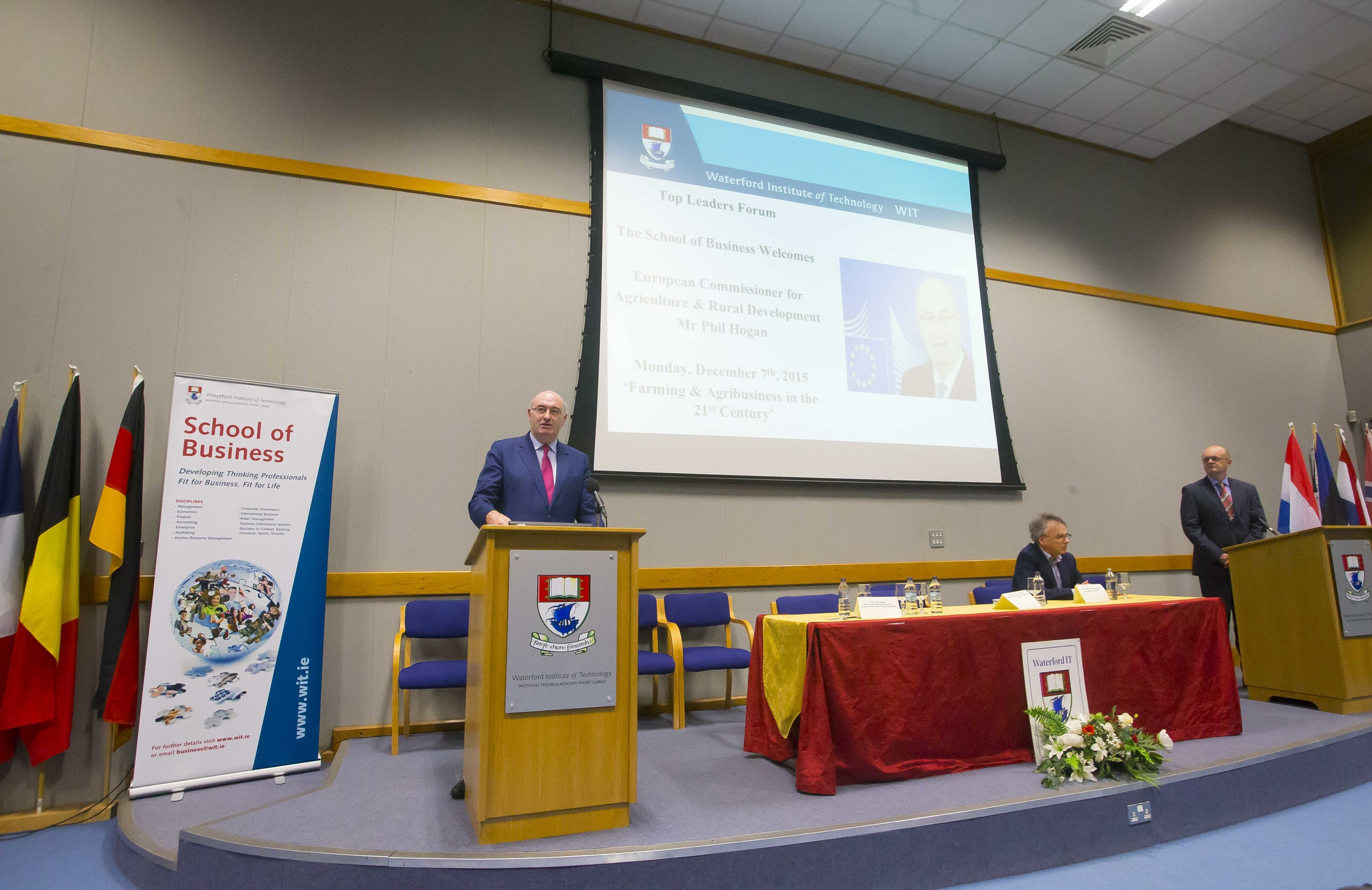 Pictured is EU Commissioner Phil Hogan addressing students from the School of Business