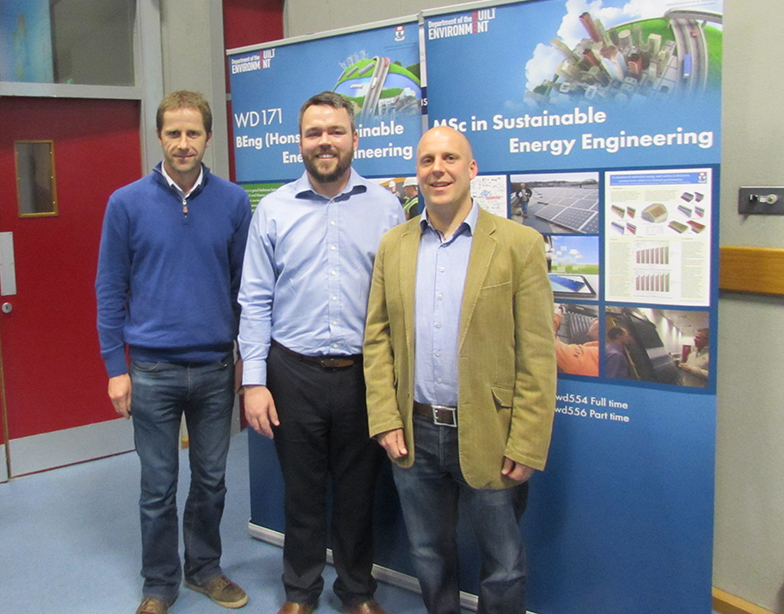 Mr. Colm Tynan (Engineering Lecturer at WIT), Mr Patrick Field (event speaker)& Mr Mervin Doyle (CIBSE Waterford Area Rep.)