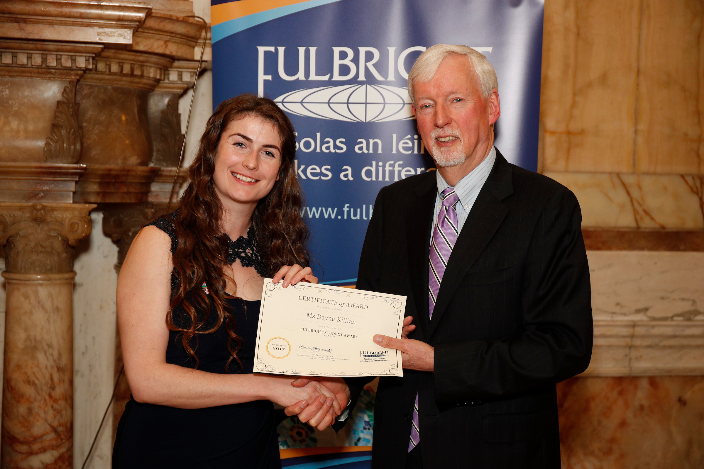 Pictured at the Fulbright awards announcement is Dayna Killian (left)
