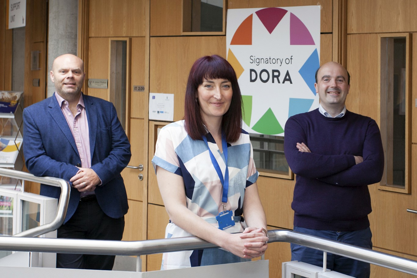 Pictured from left are  Dr Mark White, Vice President of Research, Innovation and Graduate Studies , Josephine Holohan, National Research Programmes Officer, and David Kane, Systems Librarian and Repository Manager. Photo: George Goulding