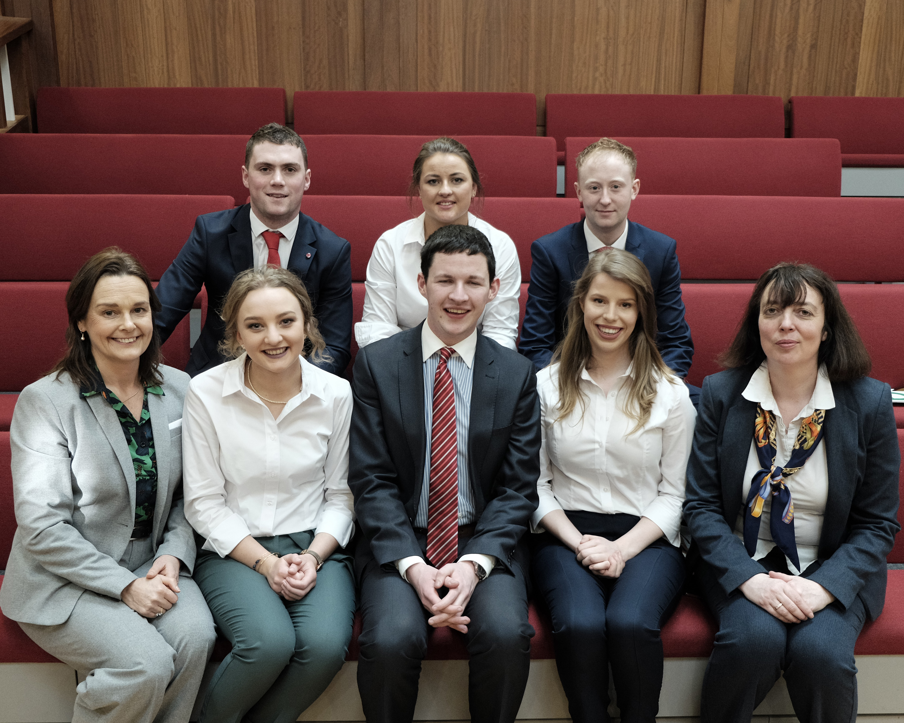 The WIT BSc (Hons) Agricultural Science debating team pictured in the UCD Garret Fitzgerald debating chambers with lecturers