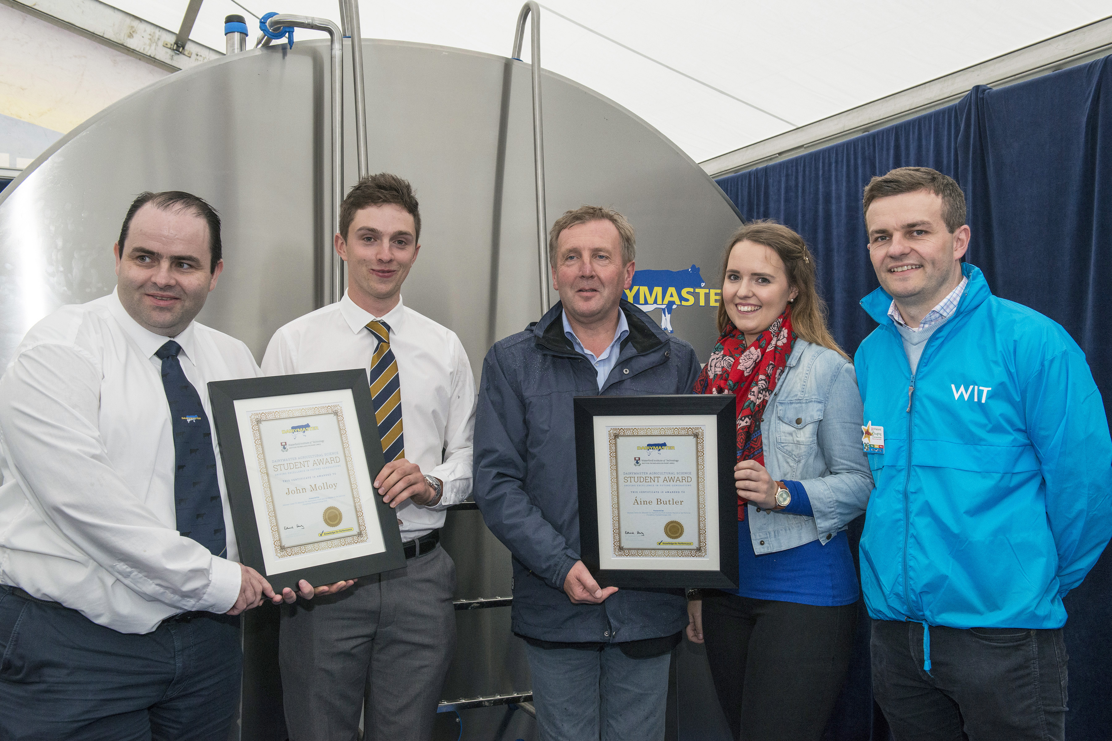 Caption: From left, CEO of Dairymaster, Dr Edmond Harty, John Molloy, Minister for Agriculture, Michael Creed, Áine Butler, and programme leader for the BSc (Hons) in Agricultural Science, Dr Michael Breen.
