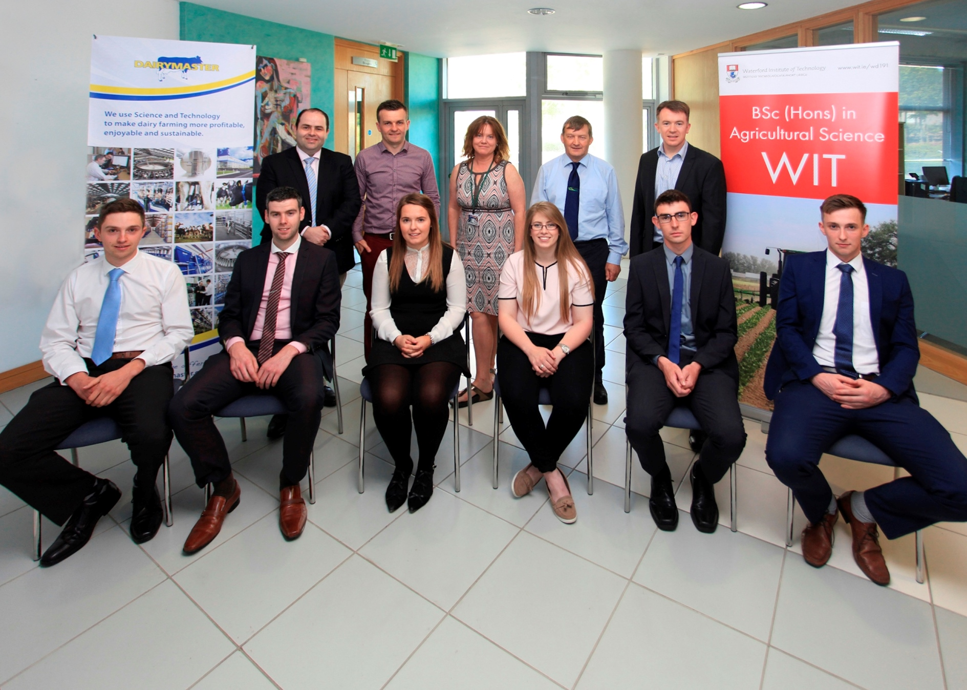 Front L-R: John Molloy (award winner), Tom Murray (finalist), Áine Butler (award winner), Sarah Fitzgerald (finalist), Eoin Finnegan (finalist), Seán Murphy (finalist). Back: Dr. Edmond Harty (CEO Dairymaster), Dr. Michael Breen (course leader), Dr. Orla O'Donovan (Head. Of Dept. of Science, ), Mr. Paul Hennessy (Teagasc, Principal Kildalton Agrcultural College), Dr. John Daly (Dairymaster)