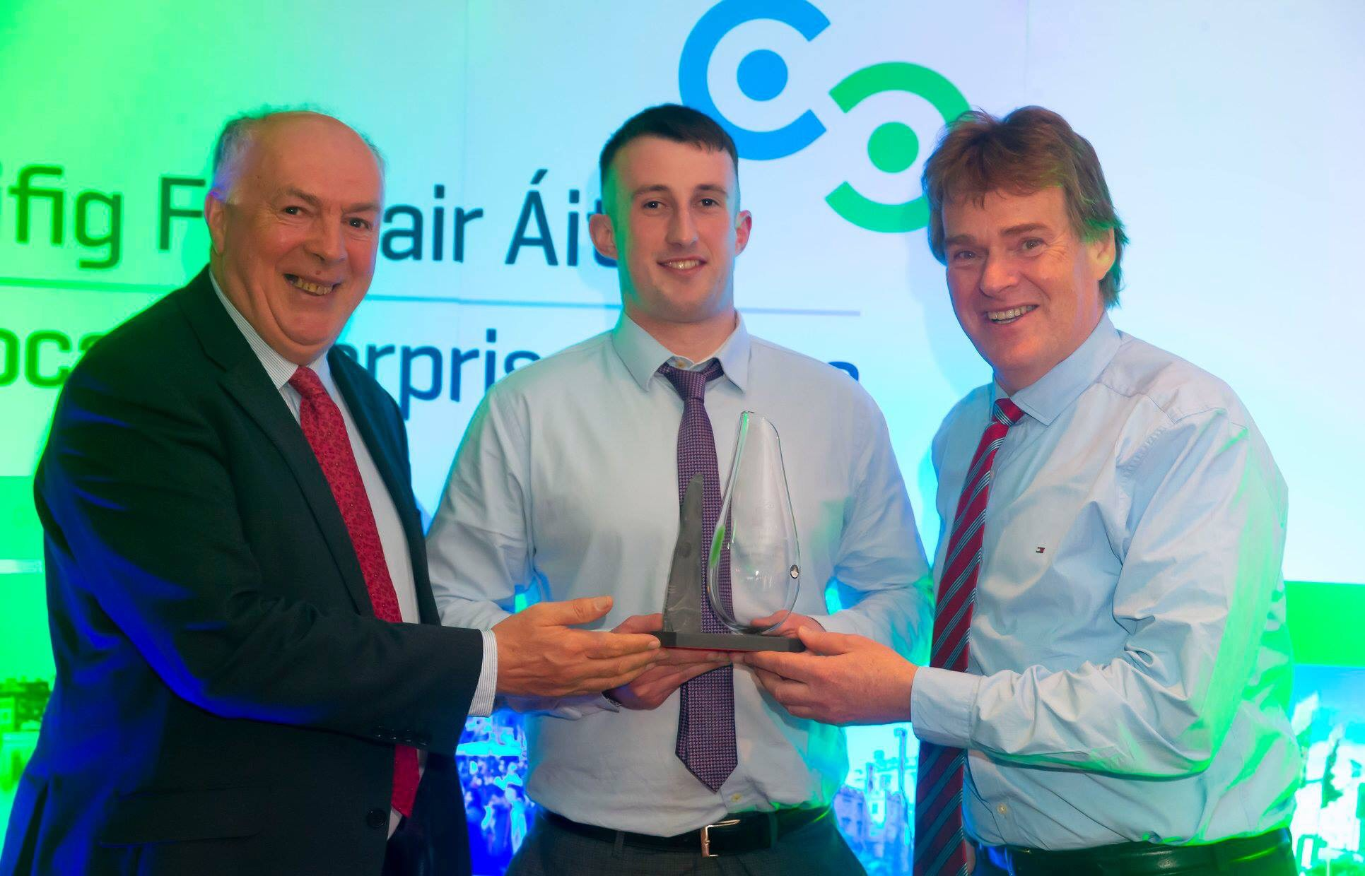 Pictured from left are: Mr Richie Walsh, Head of Enterprise, Waterford Local Enterprise, Mr Daniel Connolly, Winner of The 'Best New Idea' category,  Mr Brian Fives, Regional Executive, Enterprise Ireland. Photo: Courtesy of Waterford Local Enterprise Office