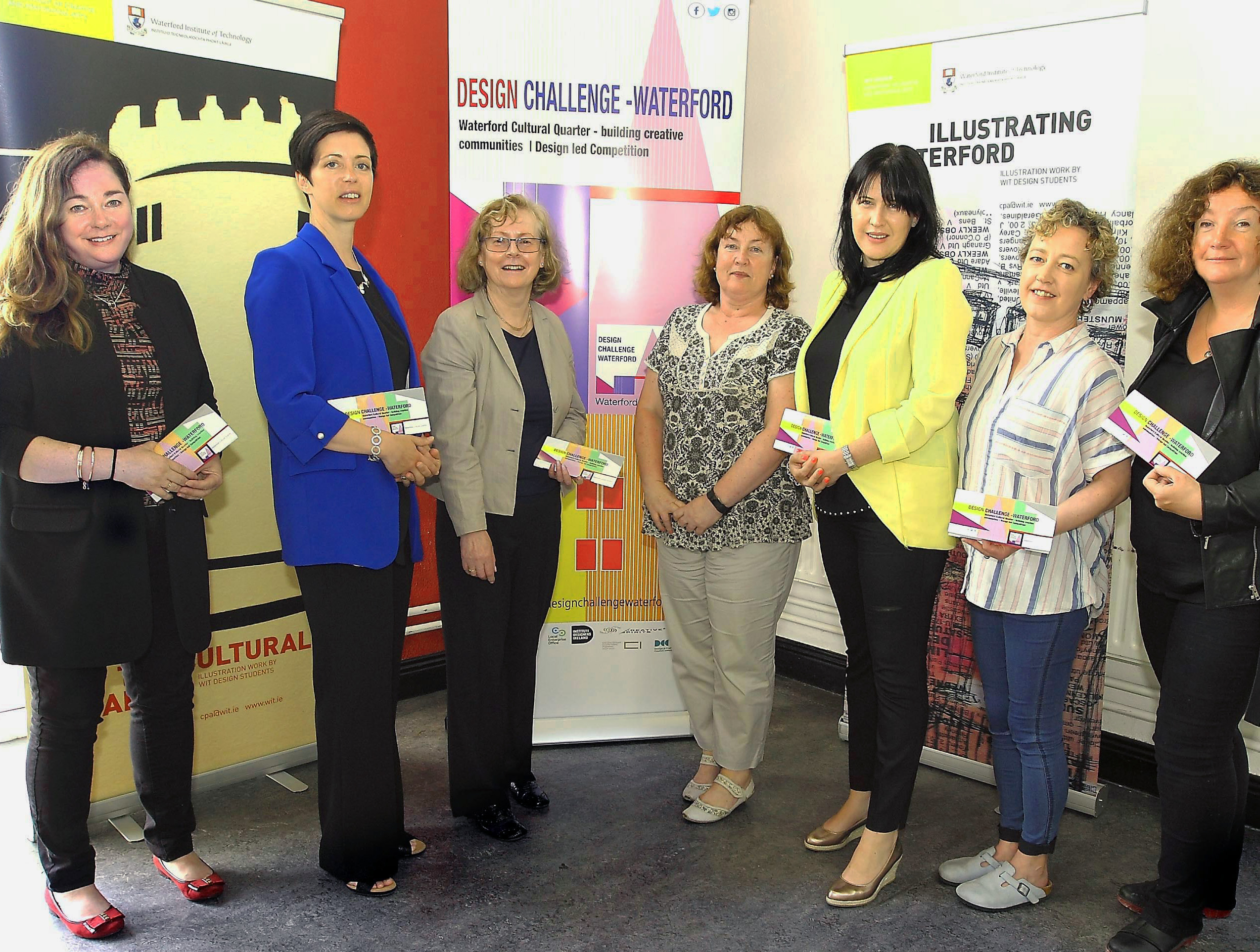 Pictured: Dr. Fiona Dowling, Lecturer in Design, WIT; Katherine Collins, Waterford City & County Council; Marian O'Neill Head of Department - Creative & Performing Arts, WIT; Dr. Suzanne Denieffe, Head of School - Humanities, WIT;  Emma Haran, Waterford City & County Council; Síle Penkert, Executive Director, Garter Lane Arts Centre; and Joy Rooney, Lecturer in Design, WIT.